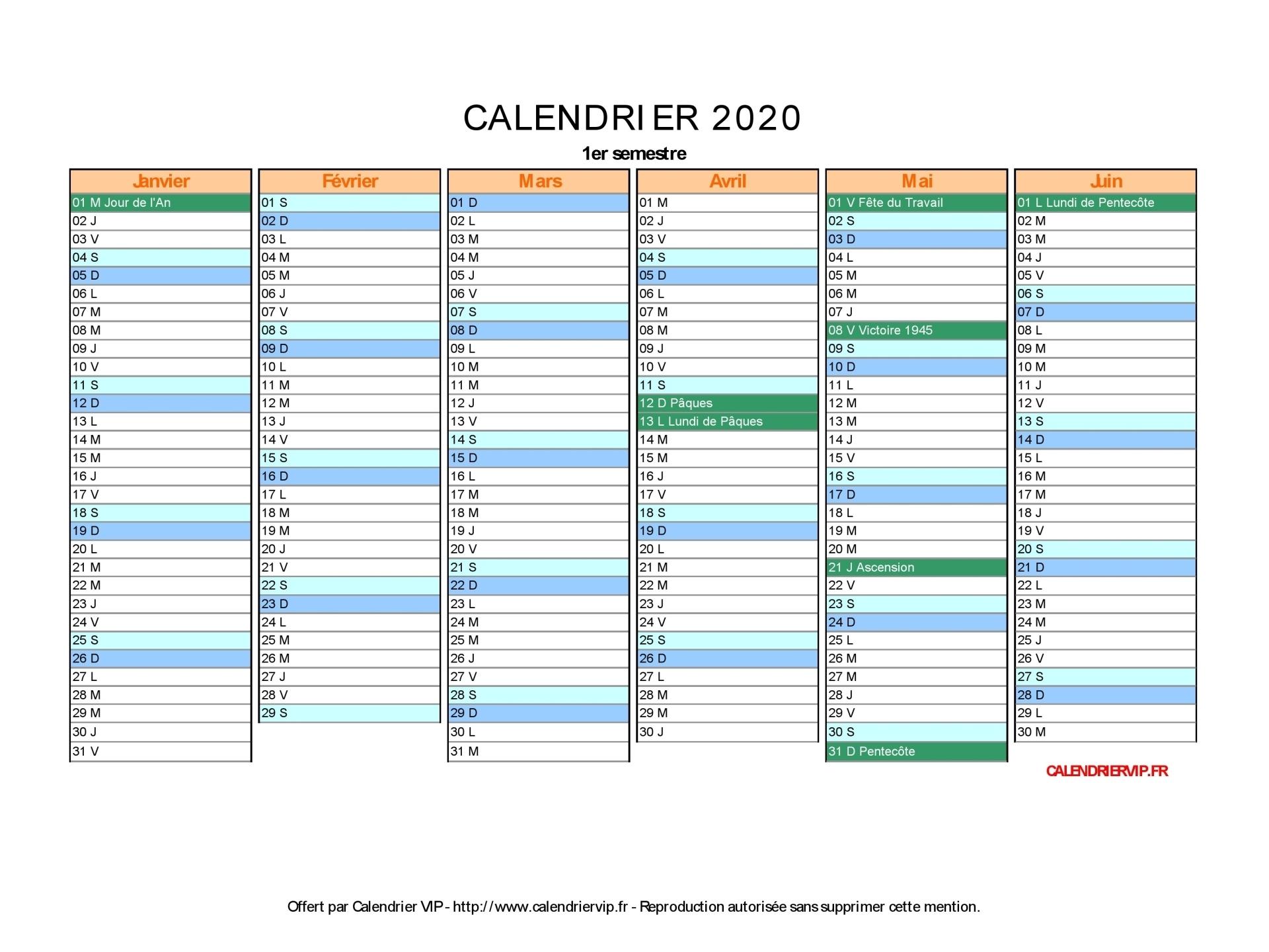 Calendrier 2020 À Imprimer Gratuit En Pdf Et Excel concernant Calendrier Perpetuel Gratuit Imprimer