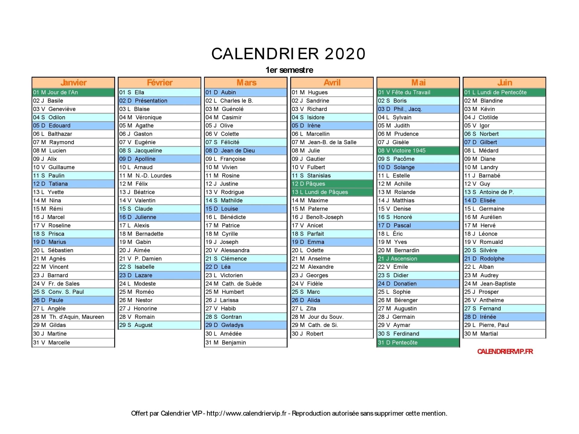 Calendrier 2020 À Imprimer Gratuit En Pdf Et Excel destiné Calendrier 2Ème Semestre 2018
