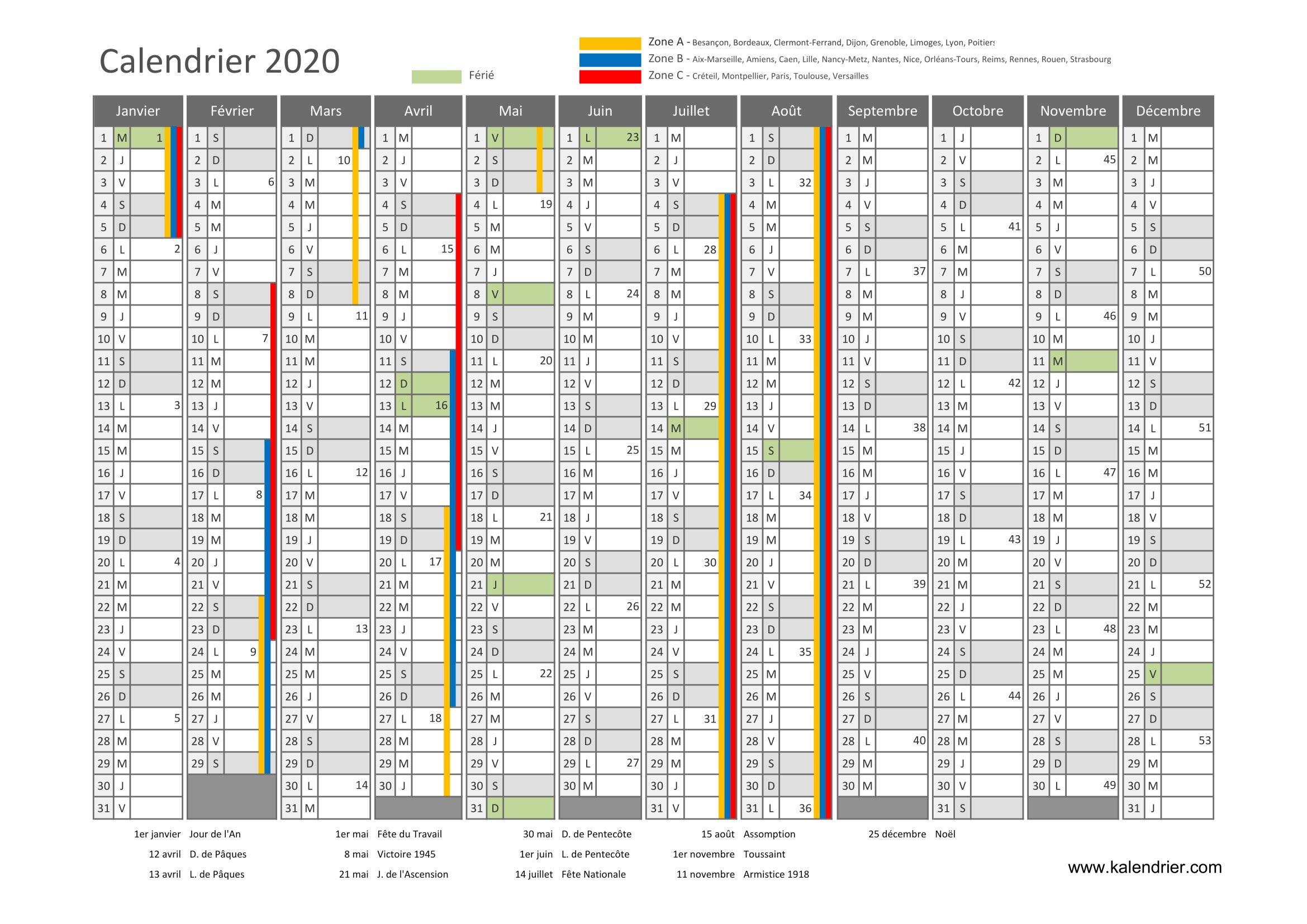 Calendrier 2020 À Imprimer : Jours Fériés - Vacances tout Calendrier 2019 Avec Jours Fériés Vacances Scolaires À Imprimer