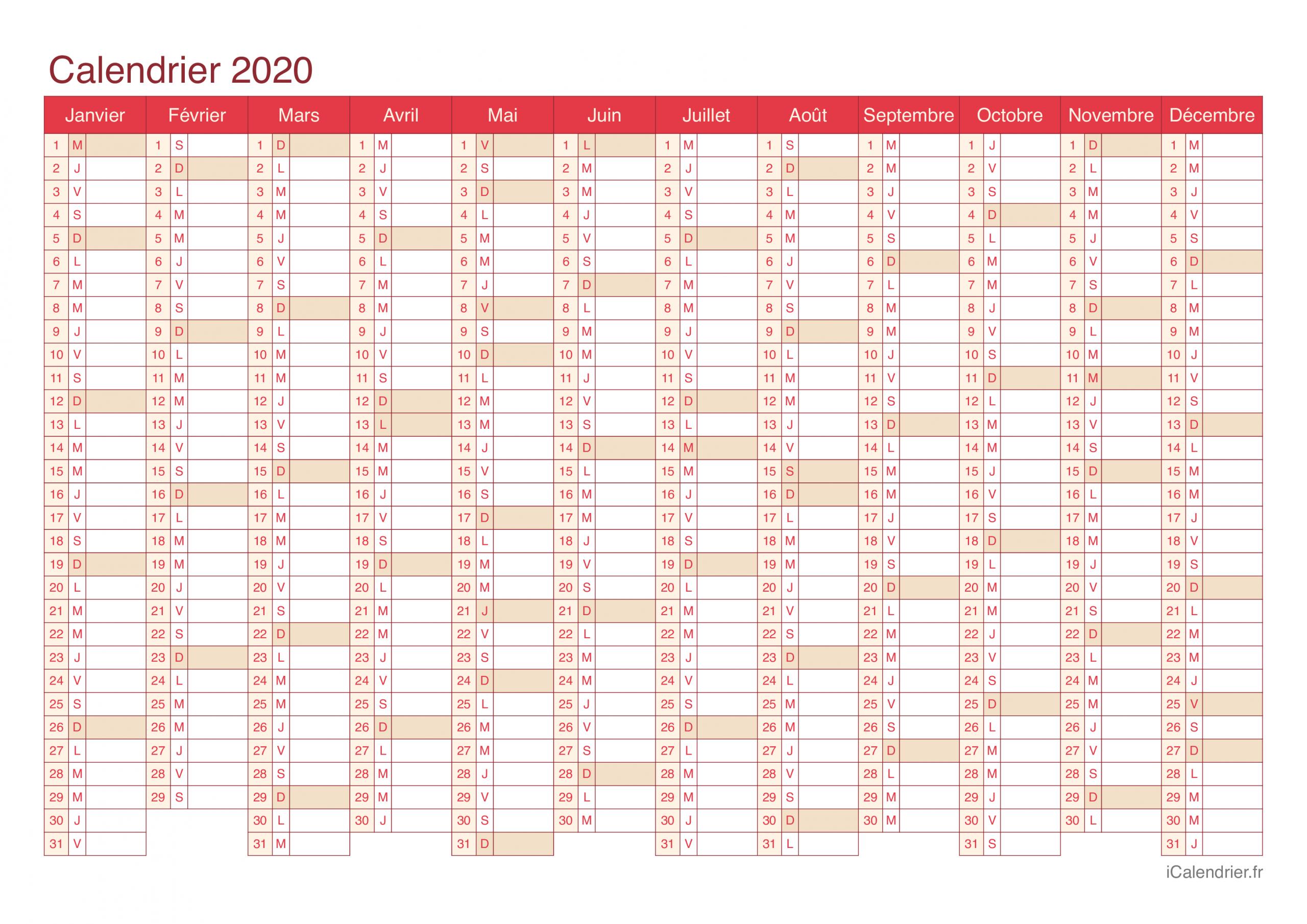 Calendrier 2020 À Imprimer Pdf Et Excel - Icalendrier encequiconcerne Calendrier Annuel 2018 À Imprimer Gratuit