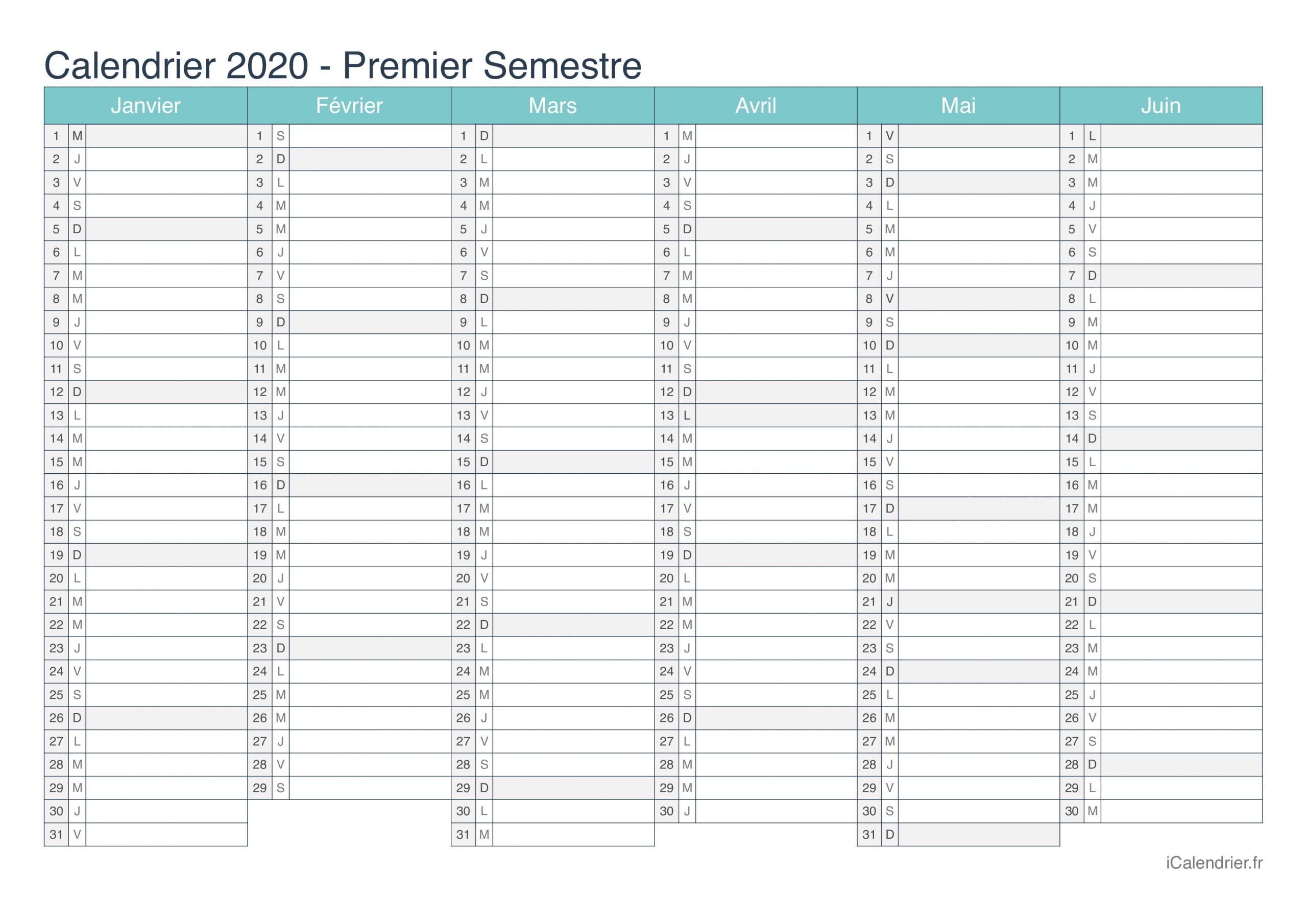 Calendrier 2020 À Imprimer Pdf Et Excel - Icalendrier tout Calendrier En Ligne Gratuit A Imprimer