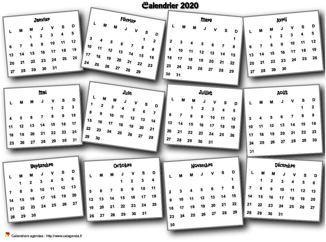 Calendrier 2020 Annuel 3D Pêle Mêle | Calendrier Imprimable concernant Calendrier Annuel 2018 À Imprimer Gratuit
