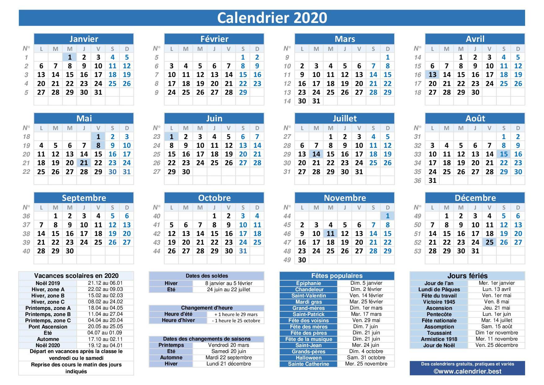 Calendrier 2020 Avec Jours Fériés Et Dates Utiles À Imprimer concernant Calendrier 2019 Avec Jours Fériés Vacances Scolaires À Imprimer