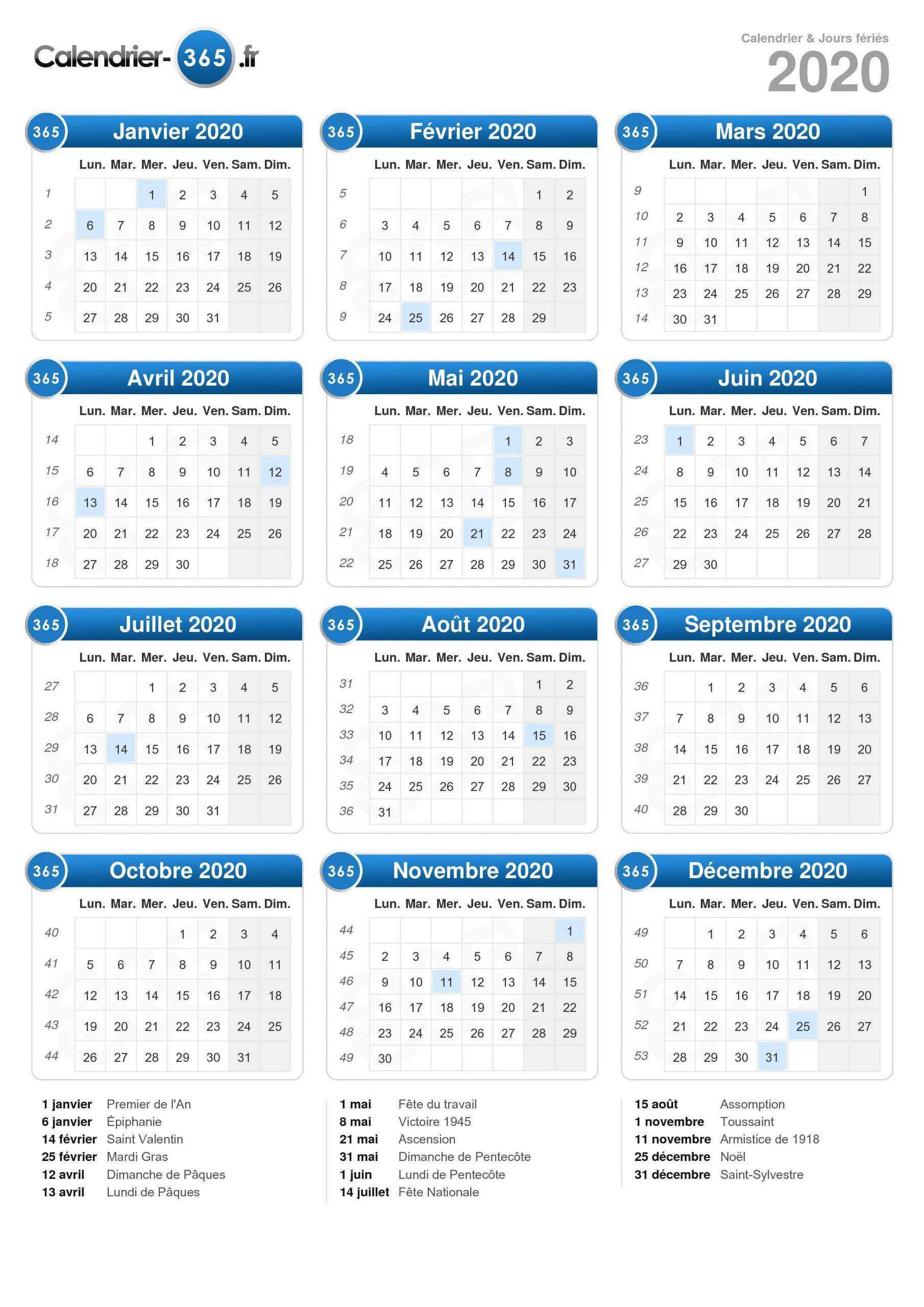 Calendrier 2020 destiné Calendrier 2019 Avec Semaine