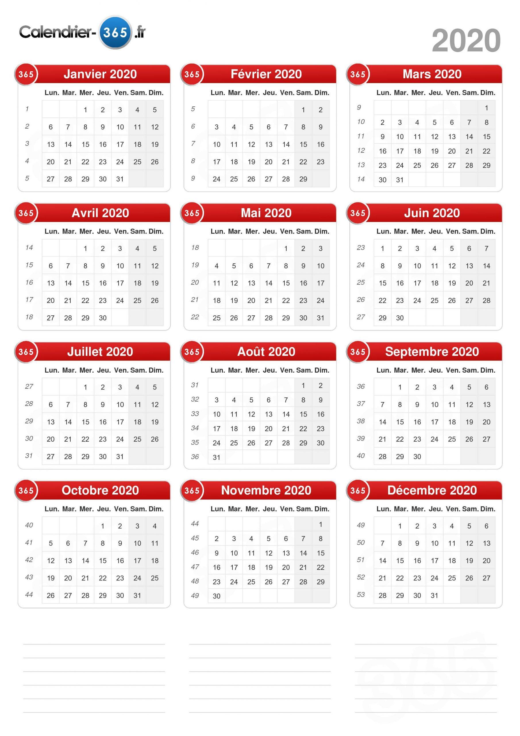 Calendrier 2020 destiné Calendrier Perpétuel À Imprimer