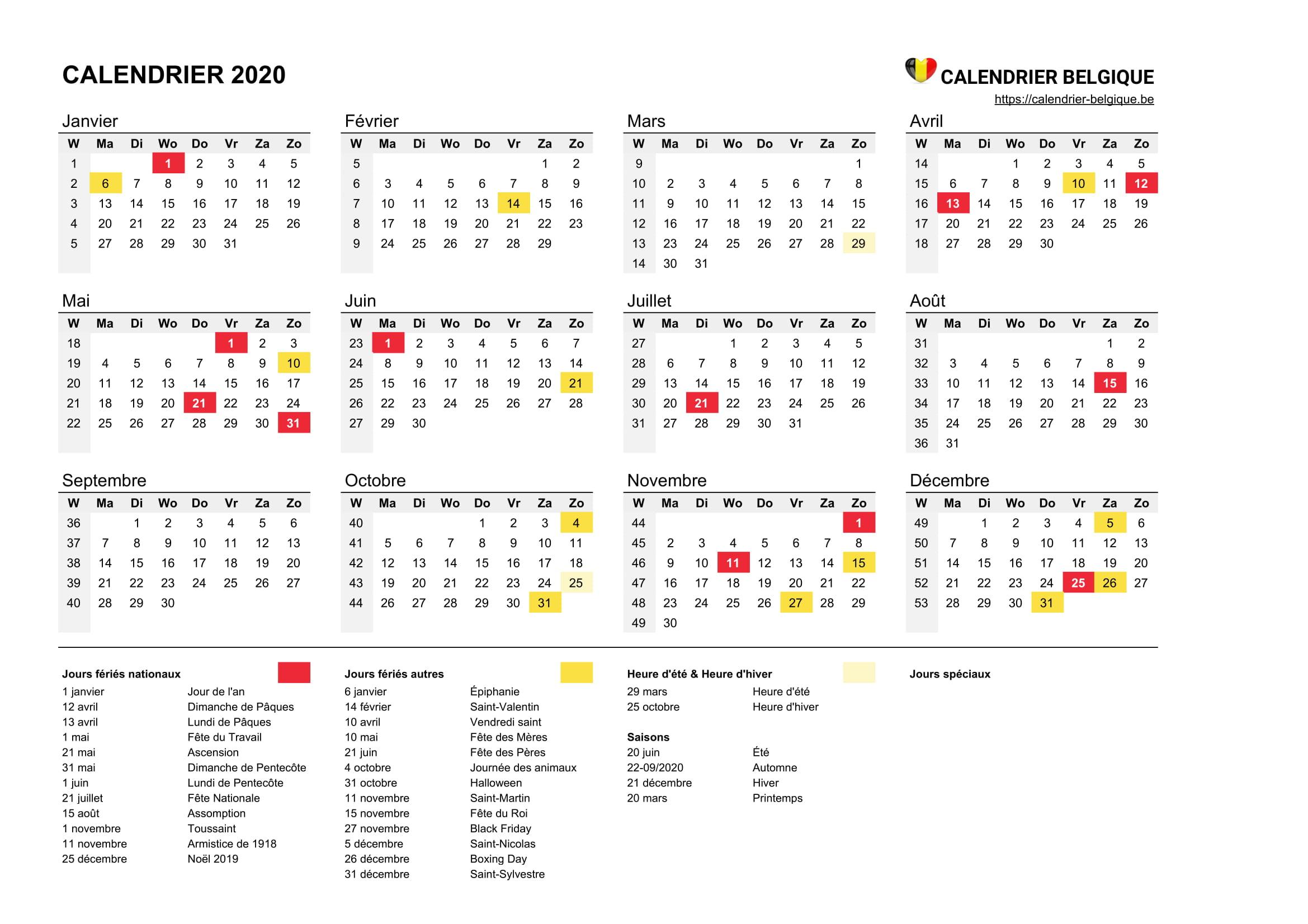Calendrier 2020 • Calendrier Belgique dedans Calendrier Des Anniversaires À Imprimer Gratuit