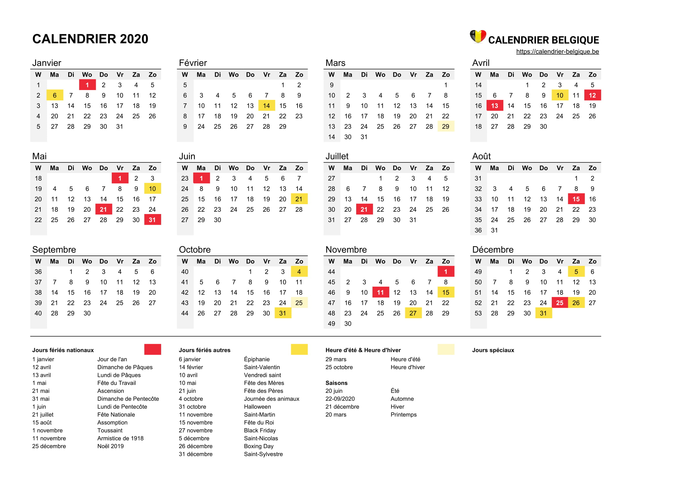 Calendrier 2020 • Calendrier Belgique destiné Calendrier Des Anniversaires À Imprimer