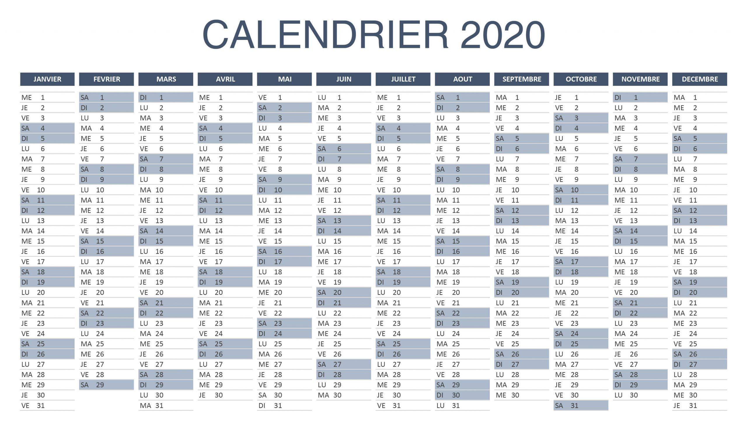 Calendrier 2020 Excel Et Pdf ▷▷ À Télécharger Et Imprimer destiné Calendrier Des Anniversaires À Imprimer Gratuit