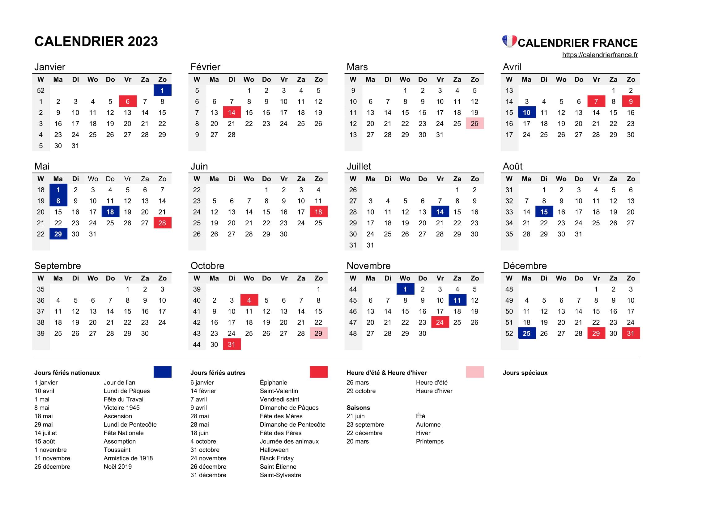 Calendrier 2023 • Calendrier France serapportantà Calendrier Des Anniversaires À Imprimer