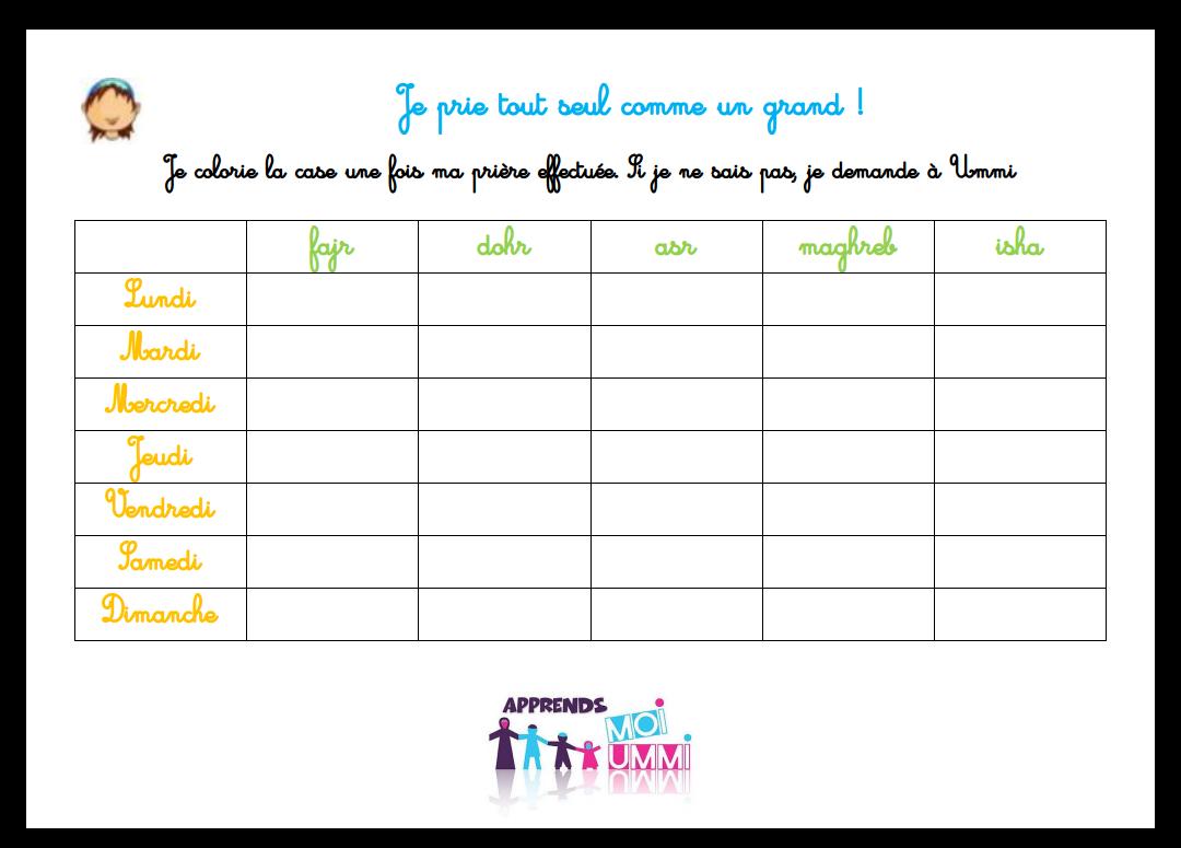 Calendrier Ajustable De Prière Pour Mon Enfant, En Français à Calendrier Enfant Semaine