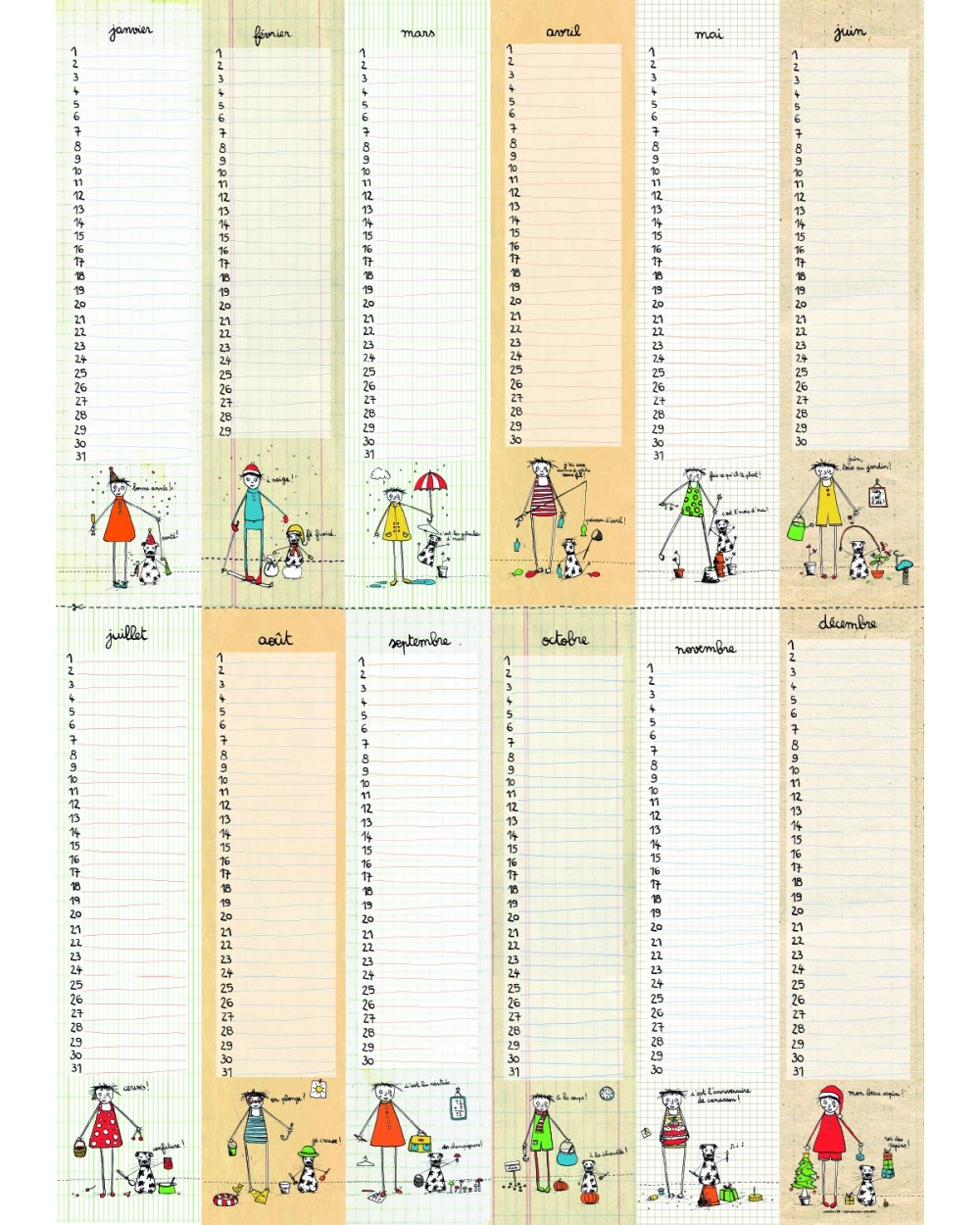 Calendrier Anniversaires Poster - Calendrier Perpétuel Filf encequiconcerne Calendrier Perpetuel Gratuit Imprimer
