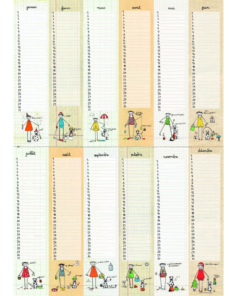 Calendrier Anniversaires Poster - Calendrier Perpétuel Filf intérieur Calendrier Des Anniversaires À Imprimer Gratuit
