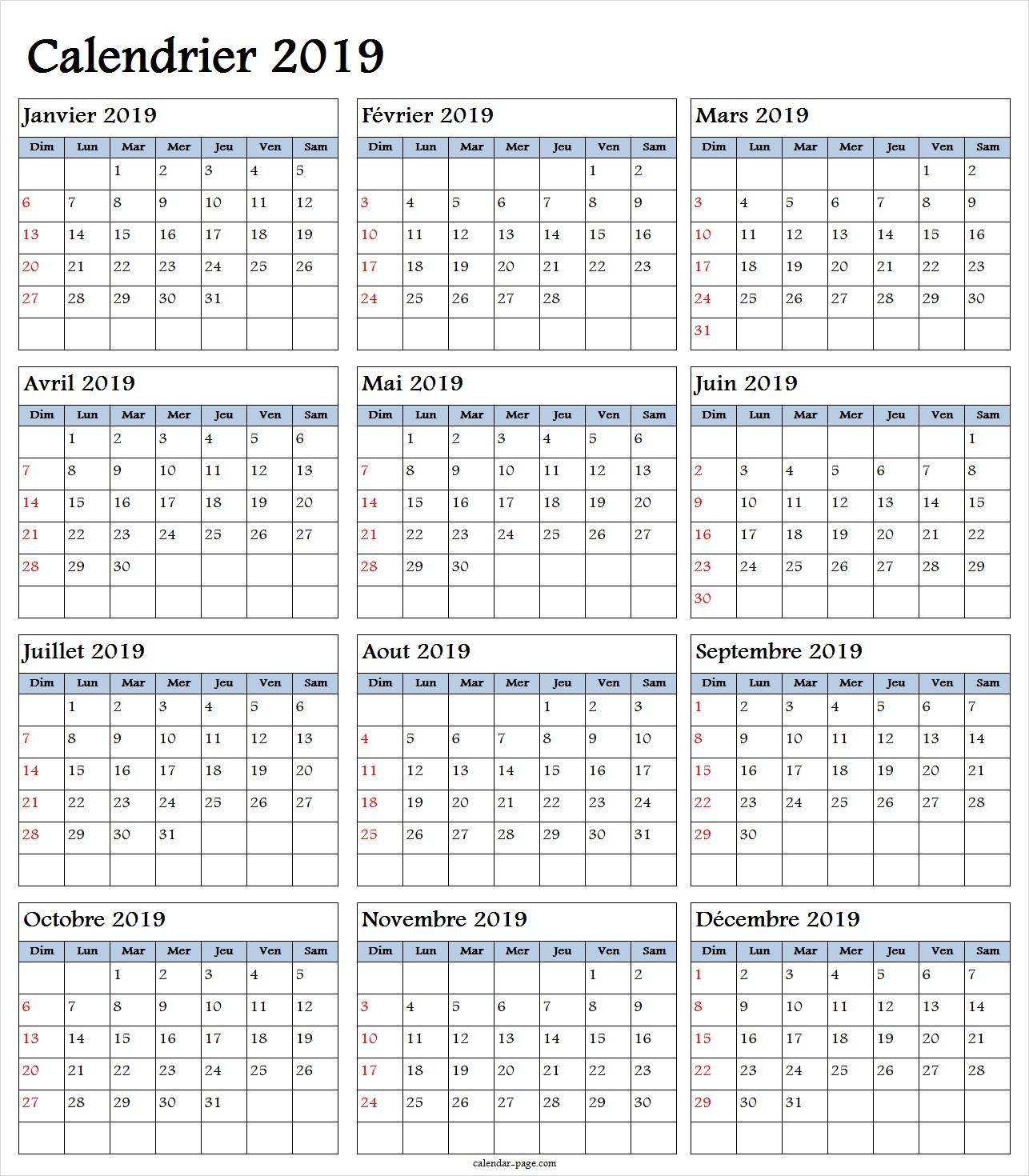 Calendrier Annuel 2019 | Calendrier Annually 2019 À Imprimer dedans Calendrier Annuel 2019 À Imprimer Gratuit