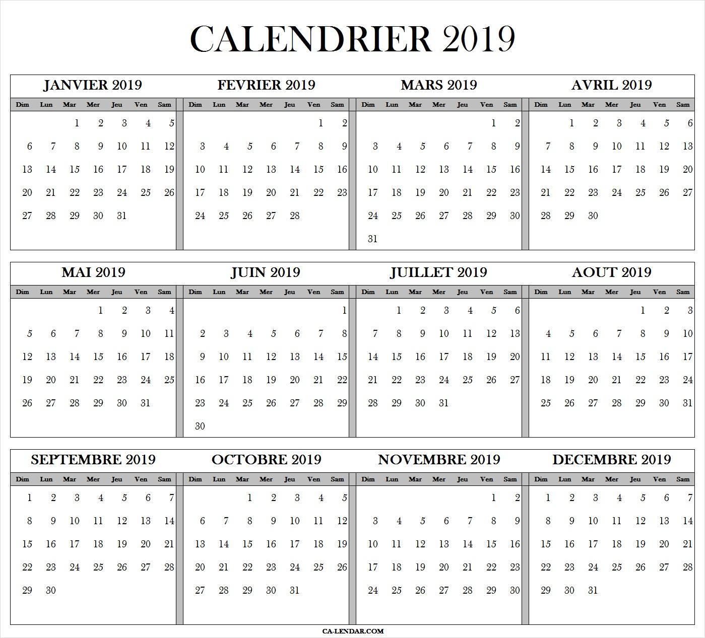 Calendrier Annuel 2019 Gratuit Imprimable | Calendrier Excel à Calendrier Annuel 2018 À Imprimer