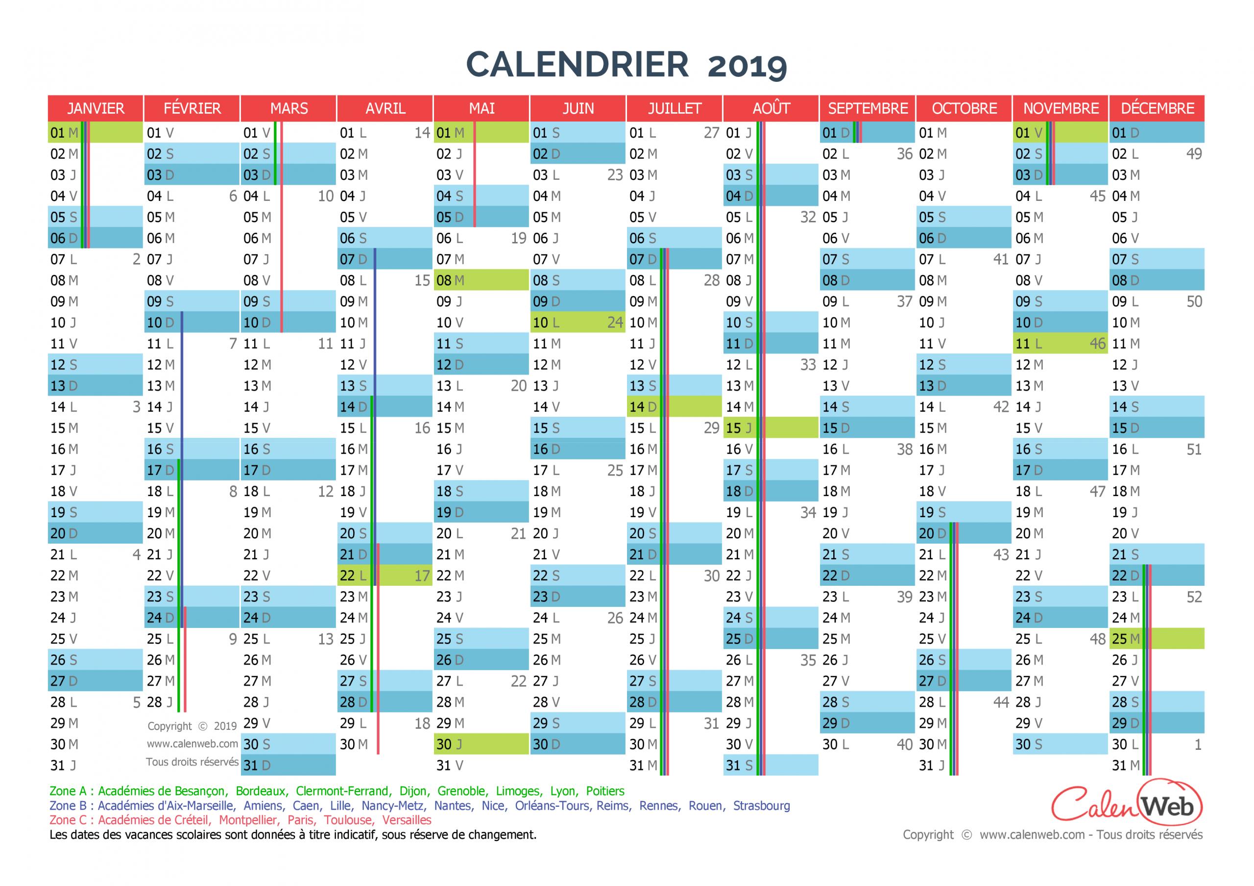 Calendrier Annuel - Année 2019 Avec Jours Fériés Et Vacances intérieur Calendrier Annuel 2019 À Imprimer Gratuit