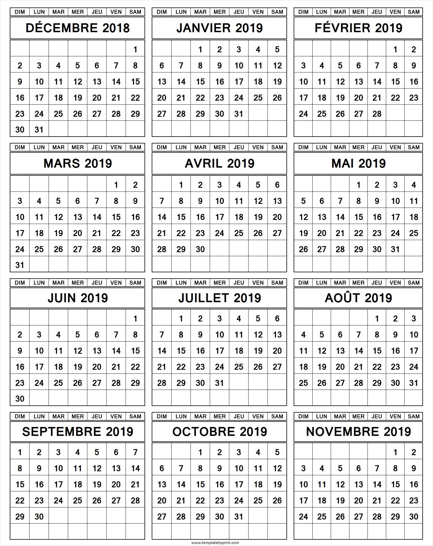 Calendrier Annuel Decembre 2018 A Novembre 2019 Imprimer destiné Calendrier Annuel 2018 À Imprimer