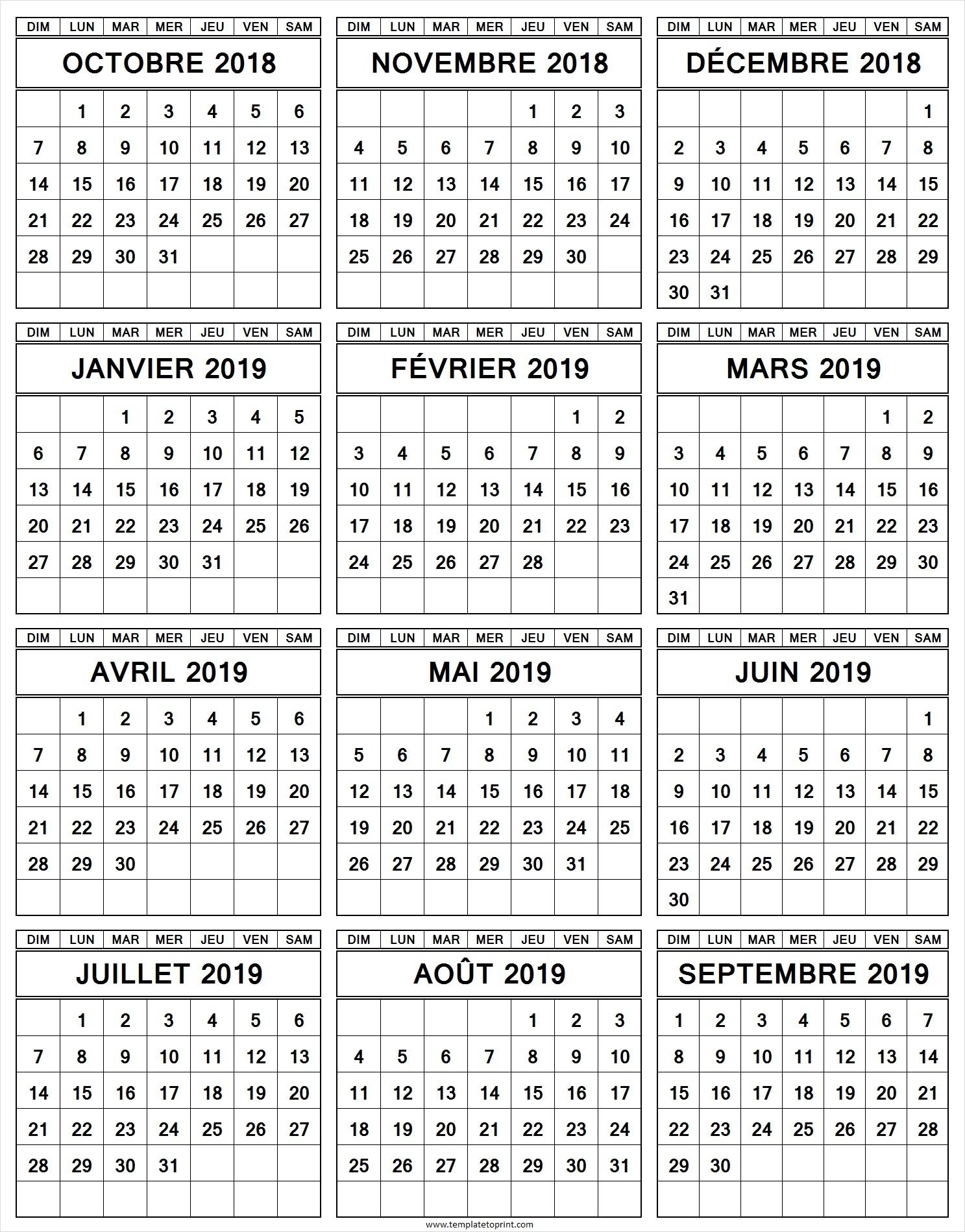 Calendrier Annuel Octobre 2018 A Septembre 2019 Imprimer dedans Calendrier Annuel 2018 À Imprimer