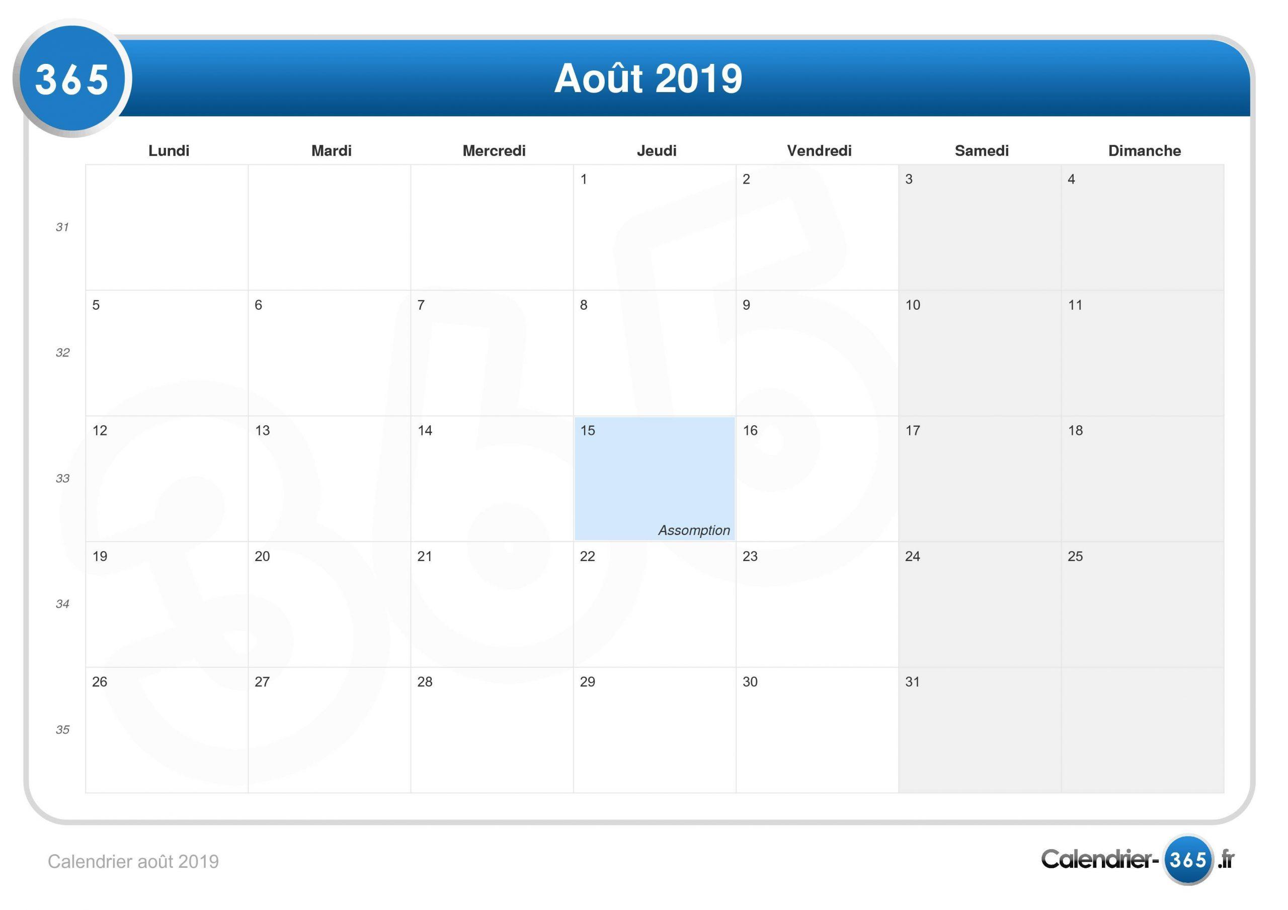 Calendrier Août 2019 serapportantà Calendrier 2019 Avec Semaine