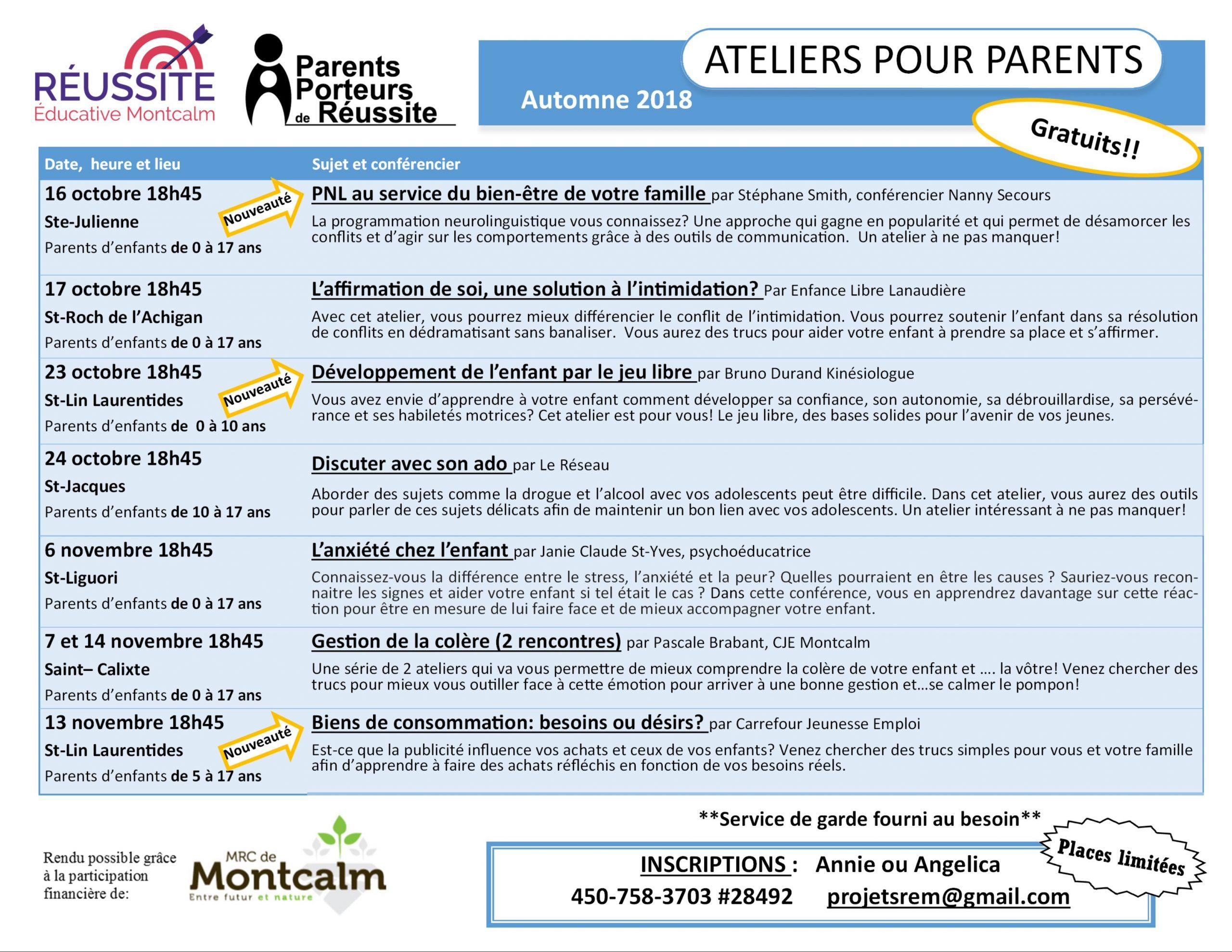 Calendrier Automne 2018 - Réussite Éducative Montcalm destiné Calendrier 2018 Enfant