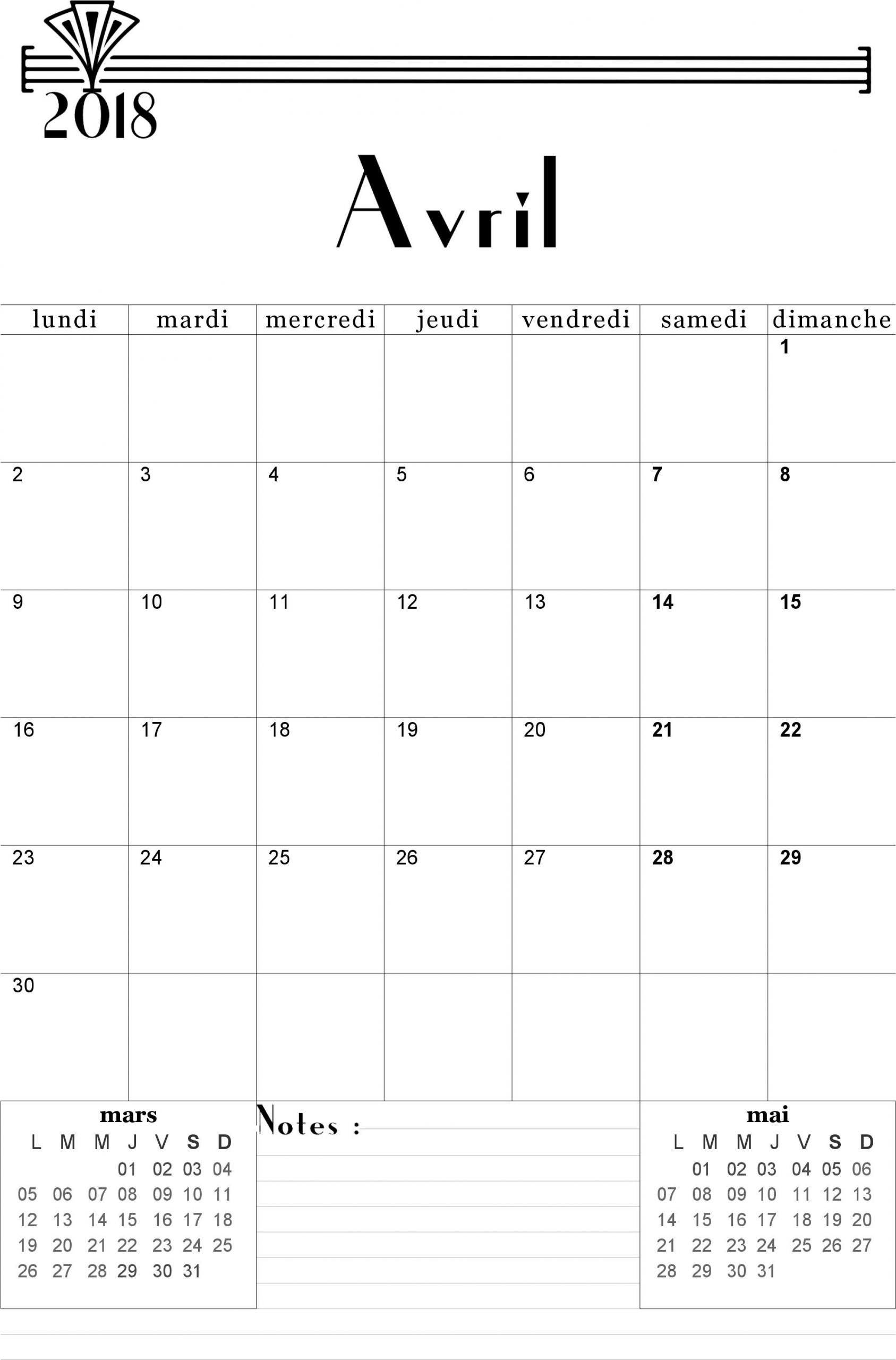 Calendrier Avril 2018 À Imprimer. | A Imprimer | Bullet dedans Calendrier Mensuel 2018 À Imprimer