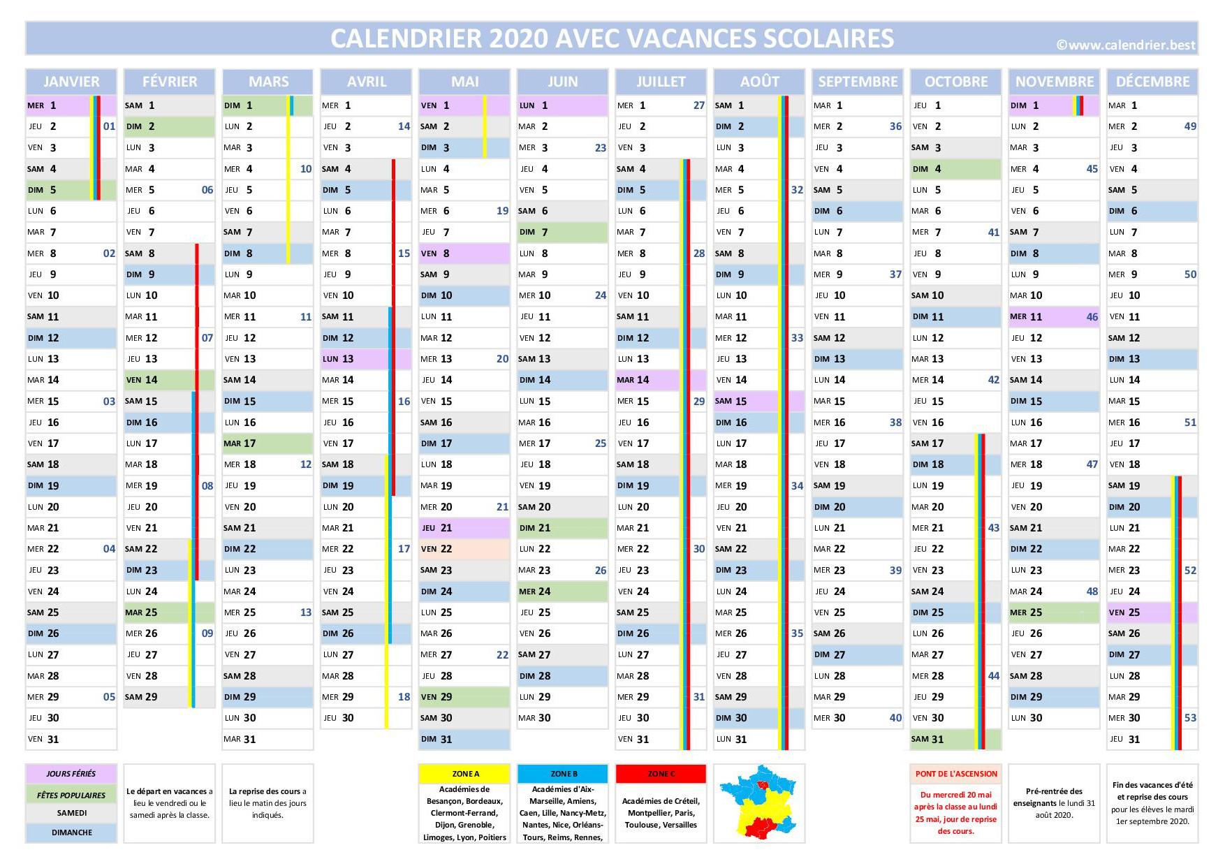 Calendrier.best : Calendriers 2020 À Imprimer Gratuitement tout Calendrier 2019 Avec Jours Fériés Vacances Scolaires À Imprimer