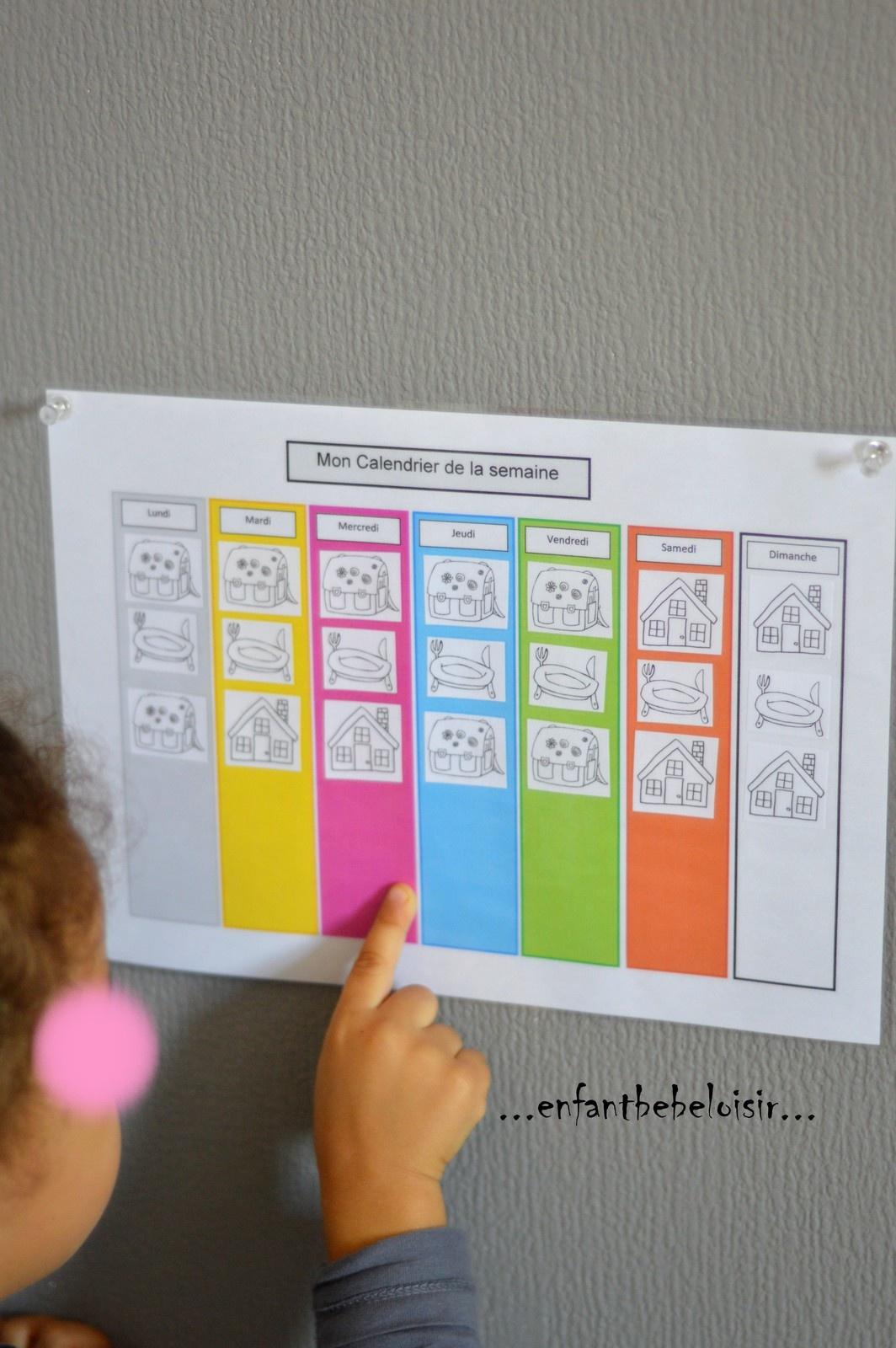 Calendrier De La Semaine - Se Repérer Dans Le Temps - Enfant concernant Calendrier Enfant Semaine