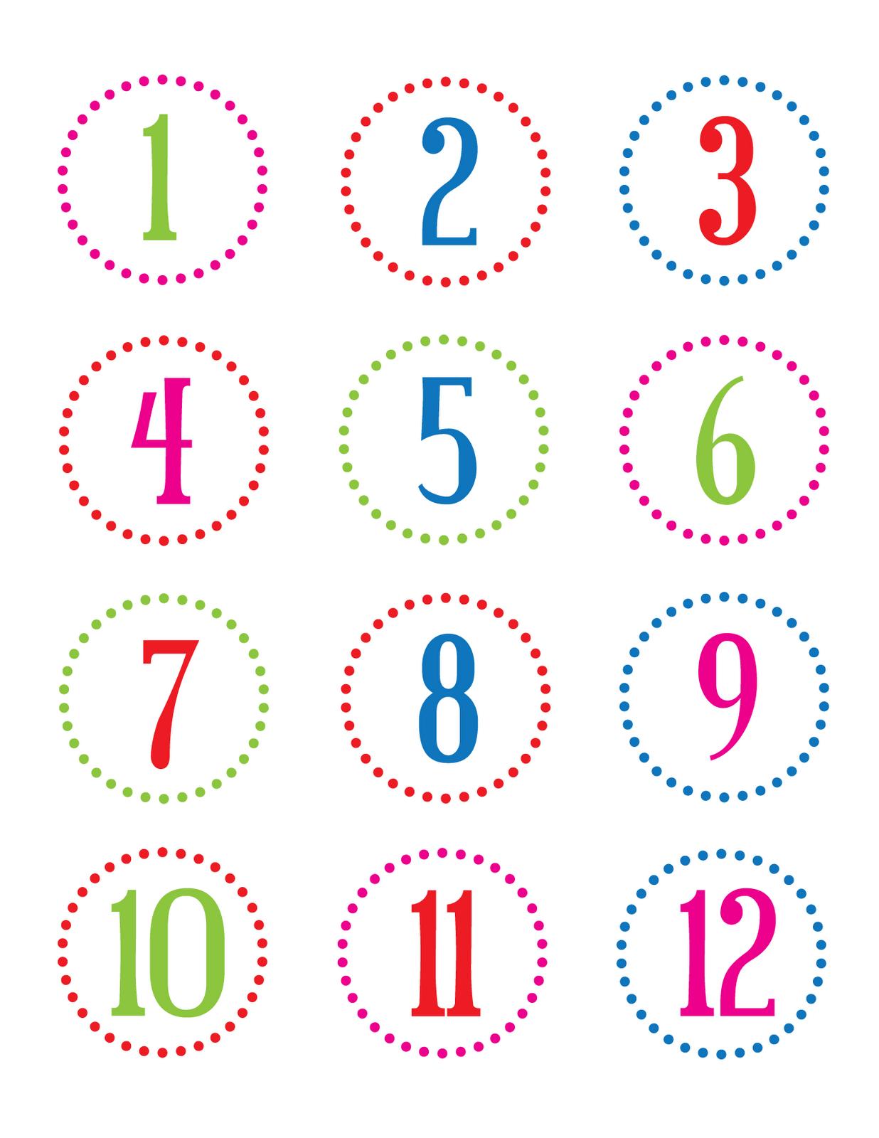 Calendrier De L'avent : 7 Planches De Numéros (Gratuit - À dedans Etiquette Chiffre A Imprimer