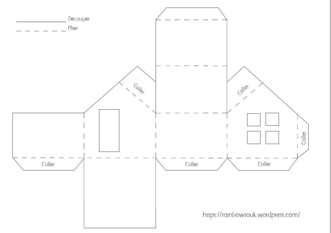 Calendrier De L'avent À Fabriquer : Des Maisonnettes En Papier dedans Patron De Maison En Papier A Imprimer
