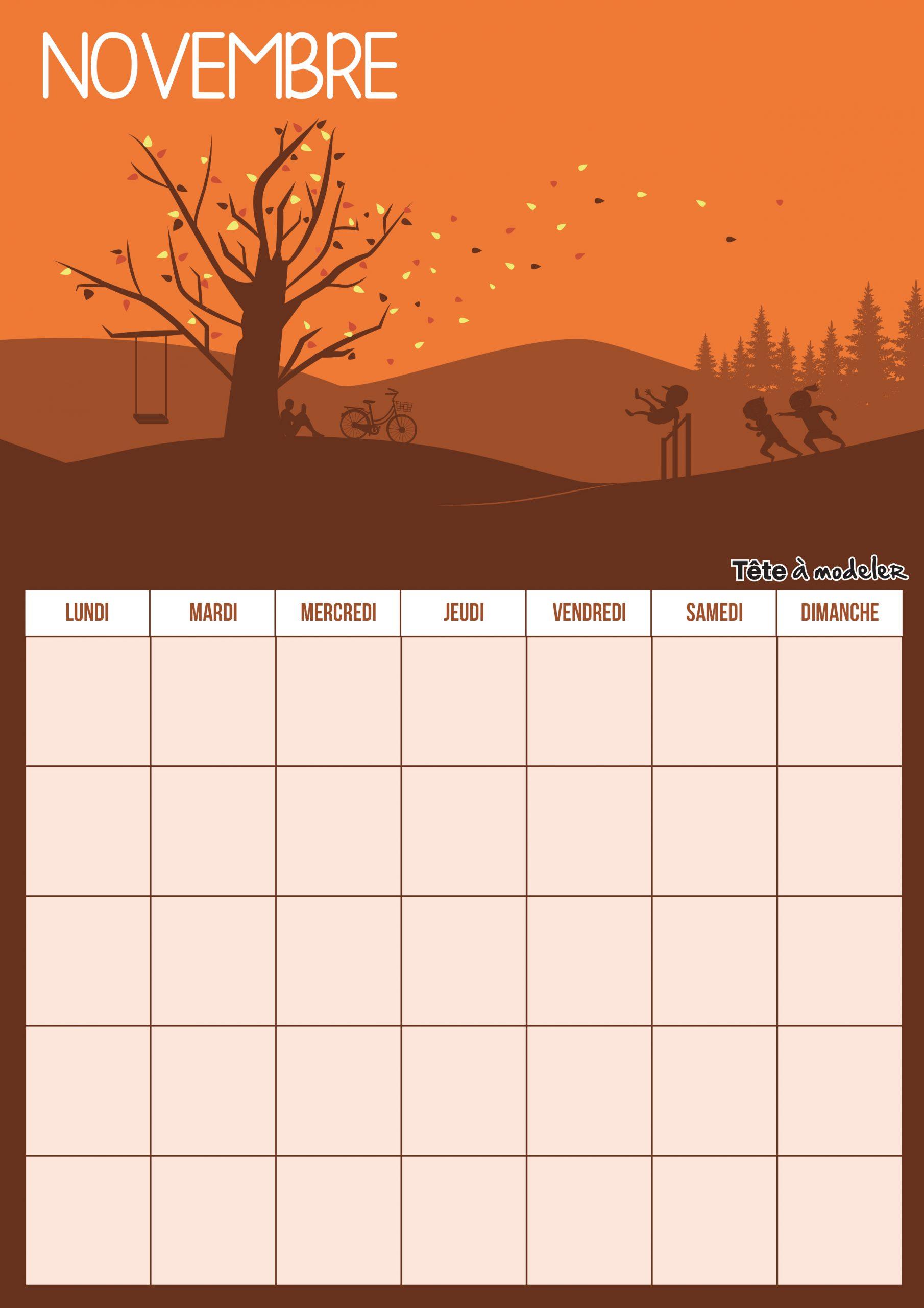 Calendrier De Novembre 2018 À Imprimer tout Calendrier Perpétuel À Imprimer