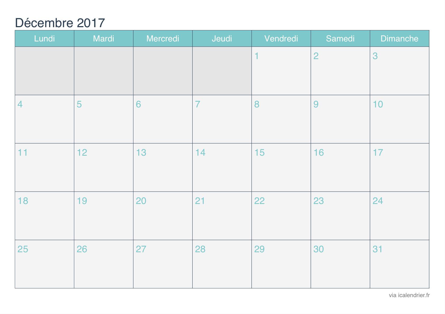 Calendrier Décembre 2017 À Imprimer - Icalendrier encequiconcerne Calendrier 2017 Imprimable