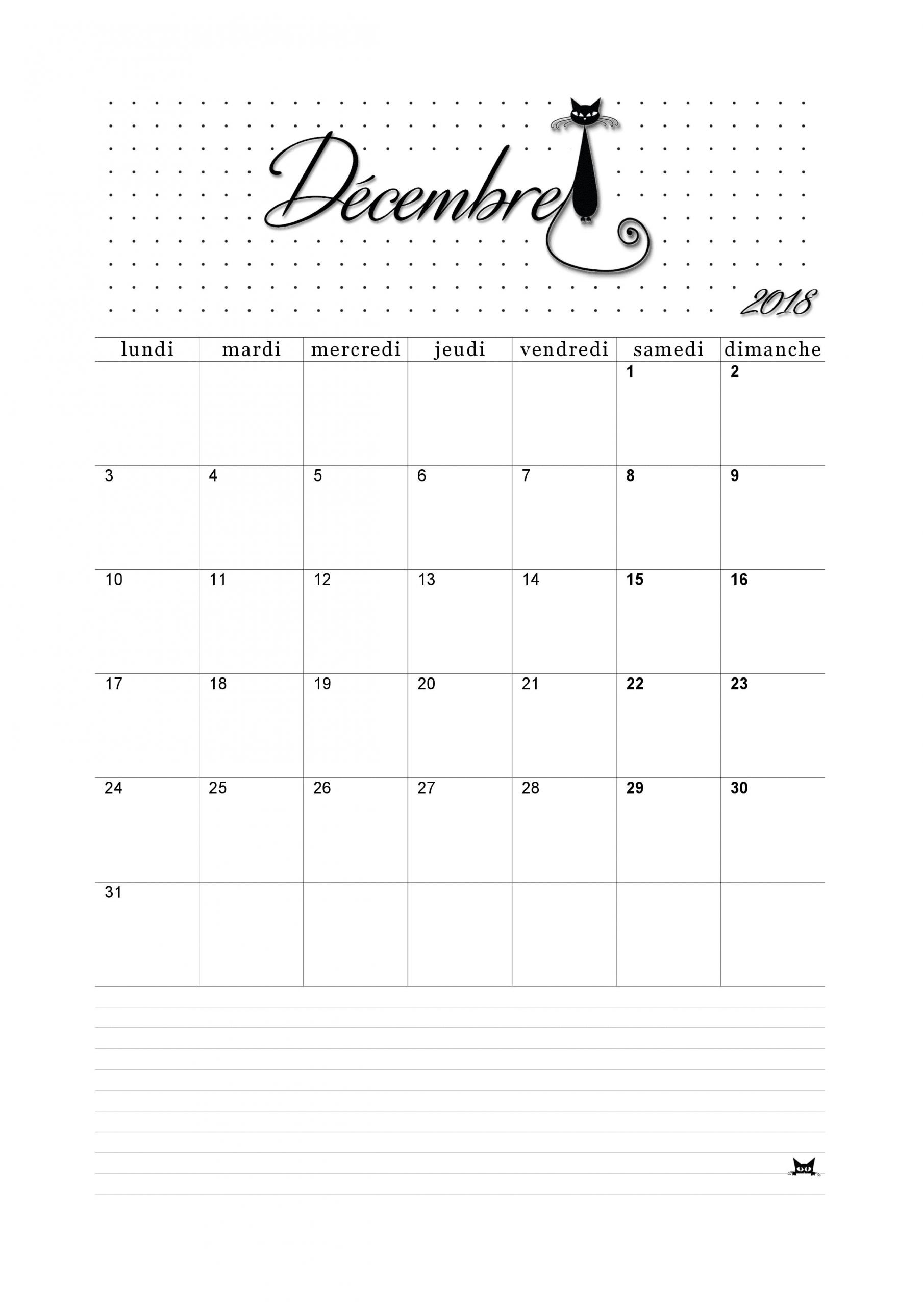 Calendrier Décembre 2018 - Thème Catsy | Calendrier pour Calendrier 2018 À Imprimer Pdf