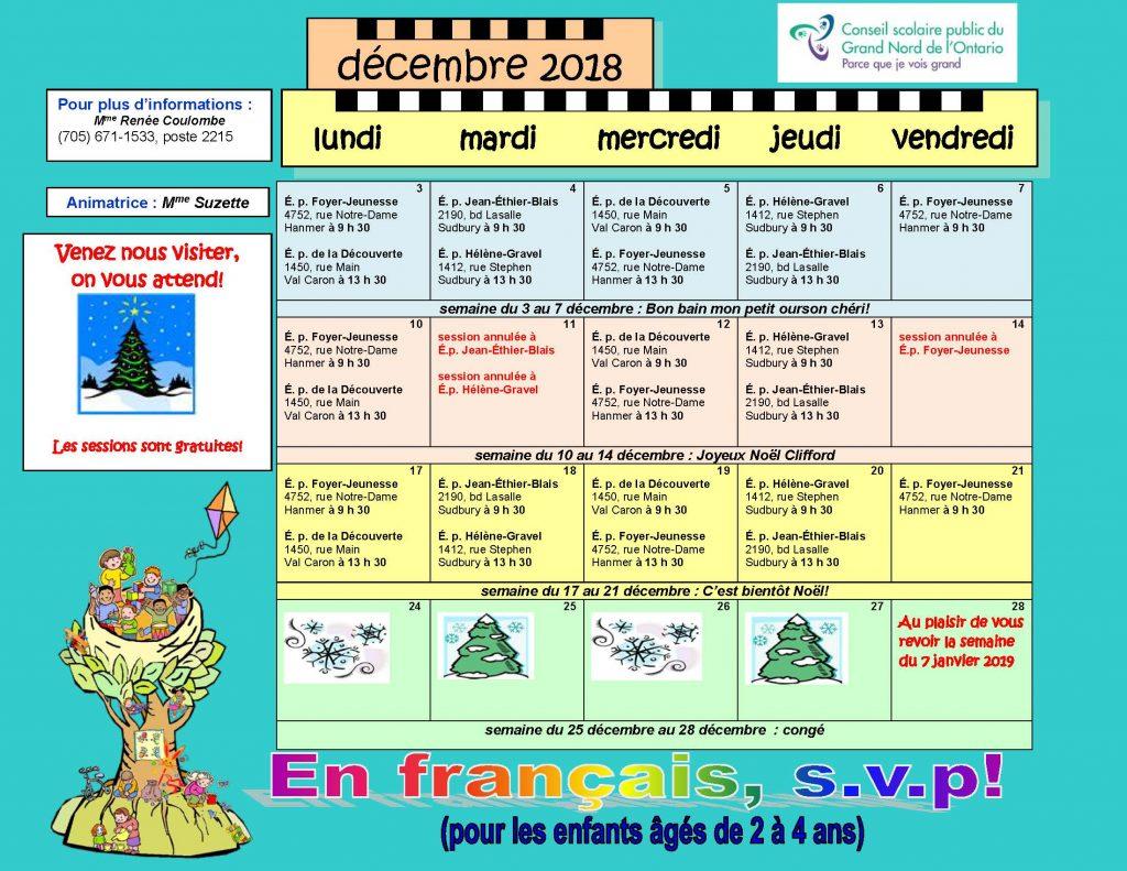 Calendrier D'efsvp Décembre 2018 | École Publique Hélène-Gravel concernant Calendrier 2018 Enfant