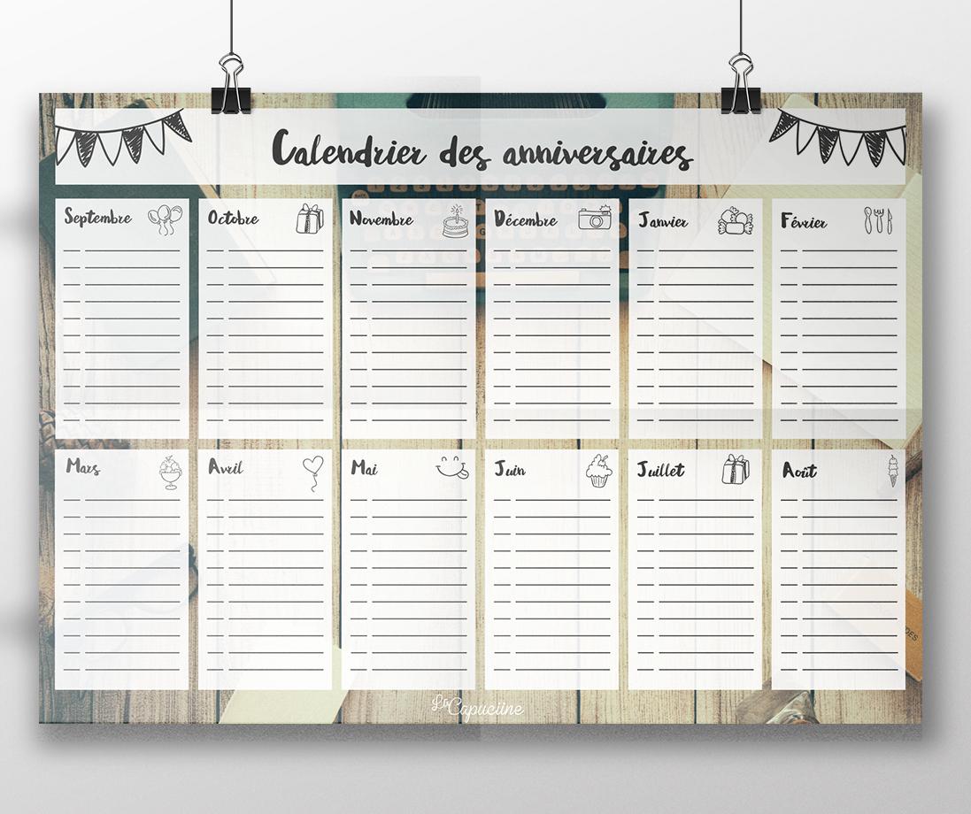 Calendrier Des Anniversaires | La Capuciine avec Calendrier Anniversaire À Imprimer