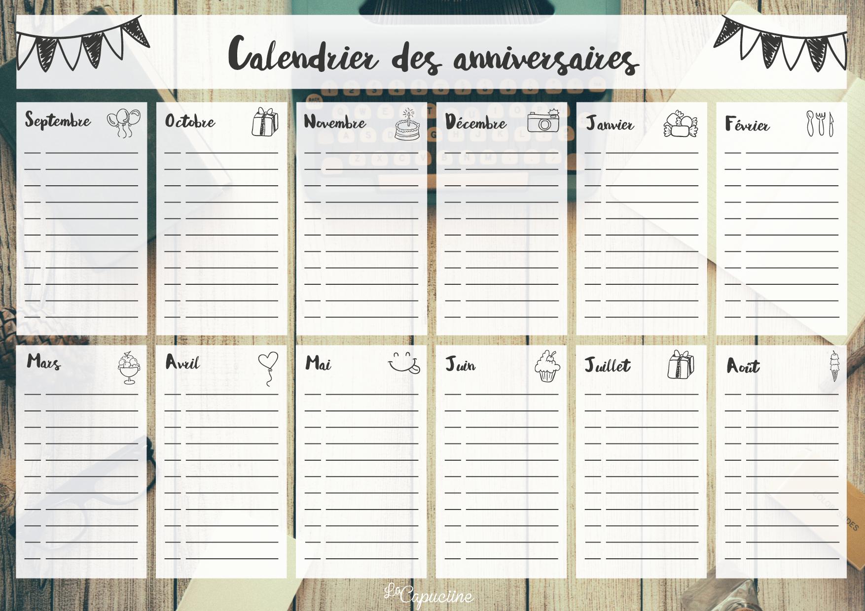 Calendrier Des Anniversaires | La Capuciine avec Calendrier Des Anniversaires À Imprimer