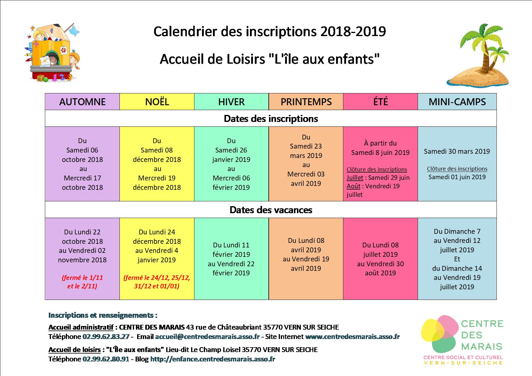 Calendrier Des Inscriptions Alsh L'île Aux Enfants 2018-2019 pour Calendrier 2018 Enfant