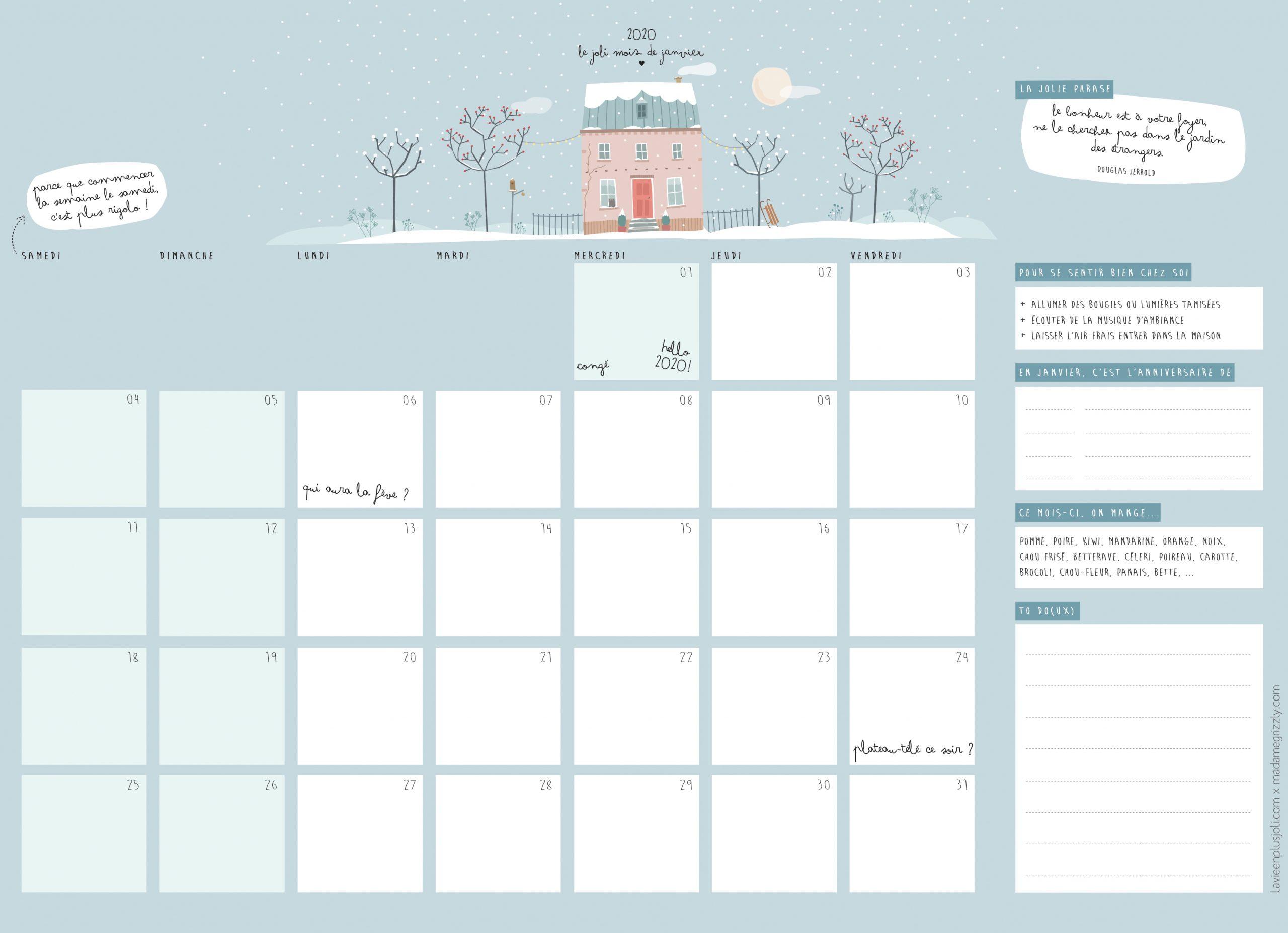 Calendrier Du Mois De Janvier 2020 À Imprimer – La Vie En tout Calendrier Des Anniversaires À Imprimer Gratuit