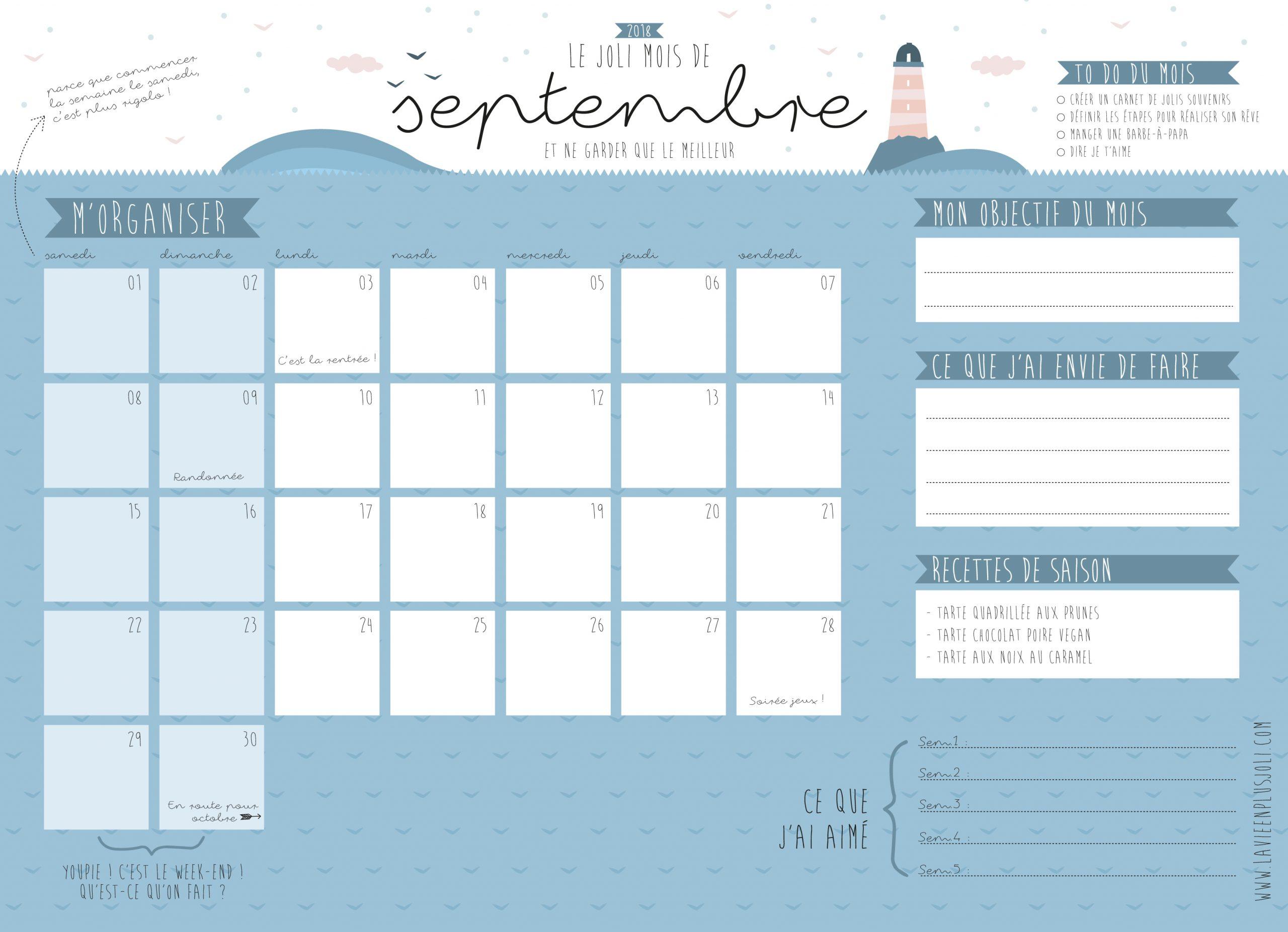 Calendrier Du Mois De Septembre À Imprimer – La Vie En Plus Joli intérieur Calendrier Ludique À Imprimer