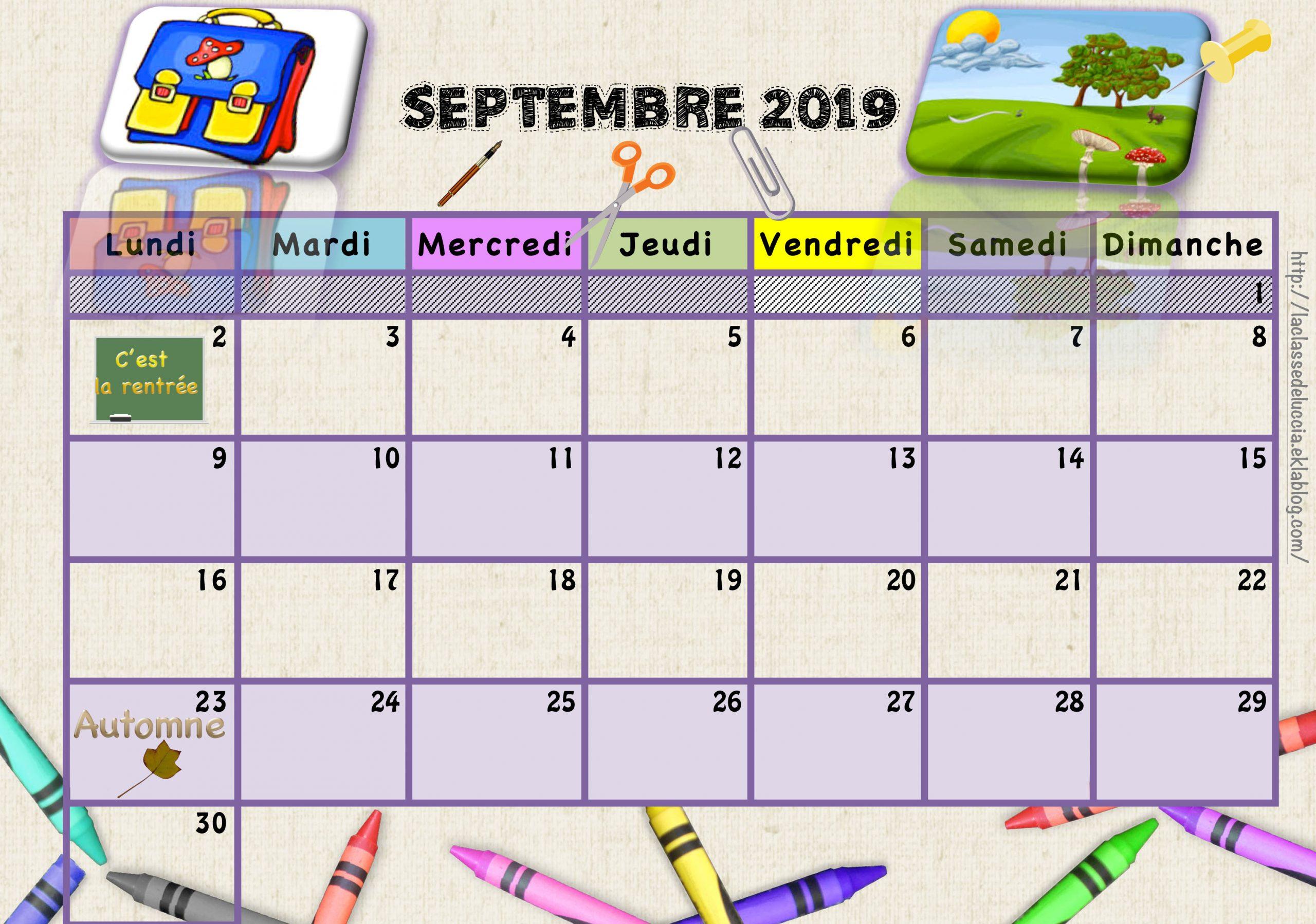 Calendrier Enfant 2019/2020 - La Classe De Luccia ! intérieur Calendrier Ludique À Imprimer