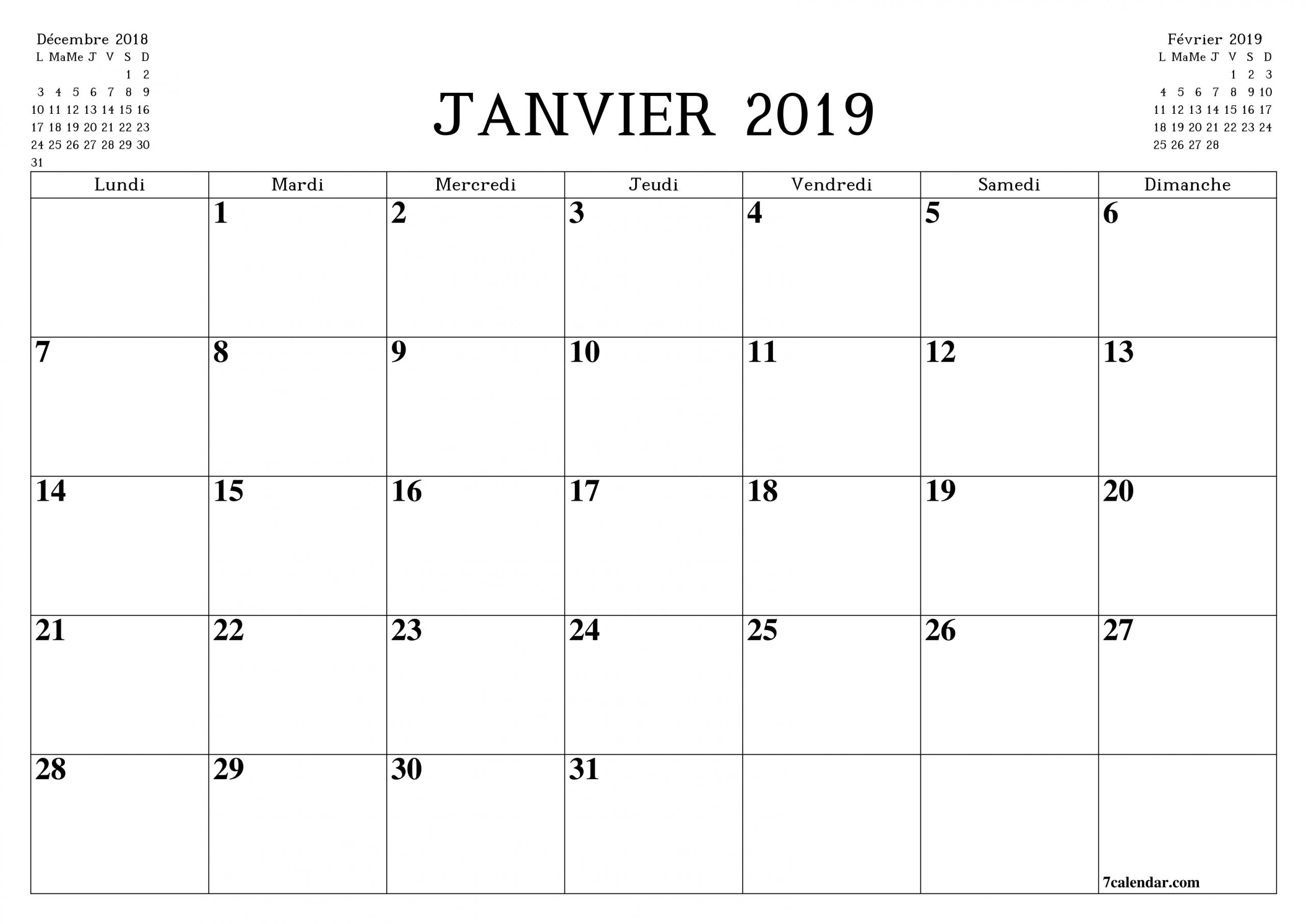 Calendrier Et Calendrier Mensuel Vierge Imprimable Gratuit pour Calendrier Mensuel 2018 À Imprimer