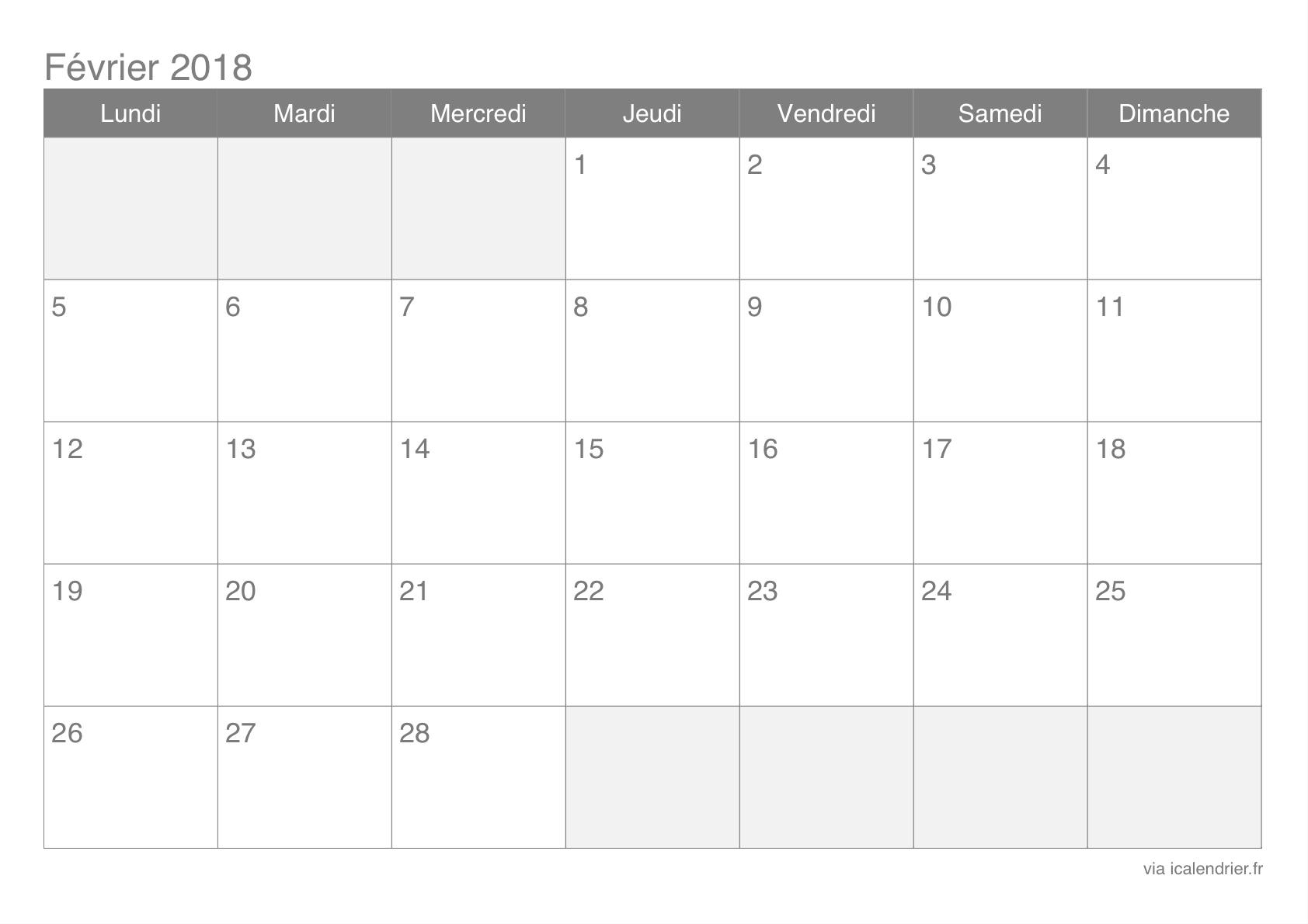 Calendrier Février 2018 À Imprimer - Icalendrier intérieur Calendrier Mensuel 2018 À Imprimer