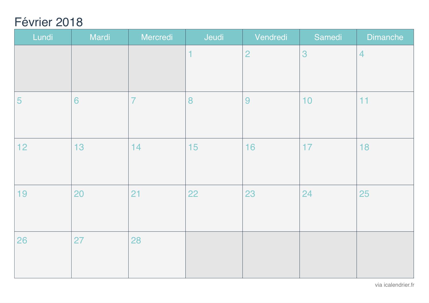 Calendrier Février 2018 À Imprimer - Icalendrier serapportantà Calendrier Mensuel 2018 À Imprimer