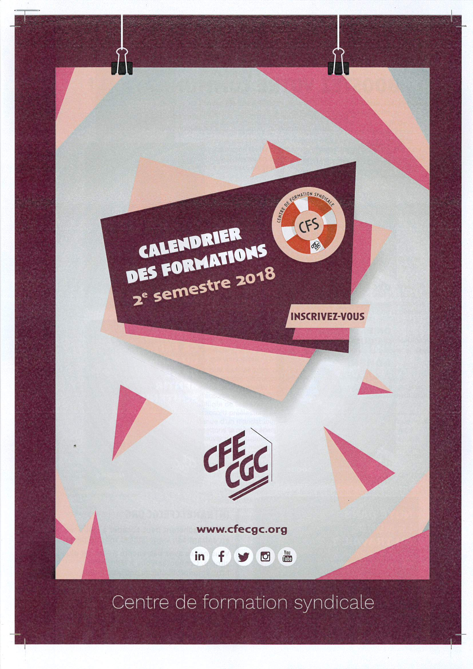 Calendrier Formations Cfs 2Ème Semestre 2018 - Cfe-Cgc Sante pour Calendrier 2Ème Semestre 2018