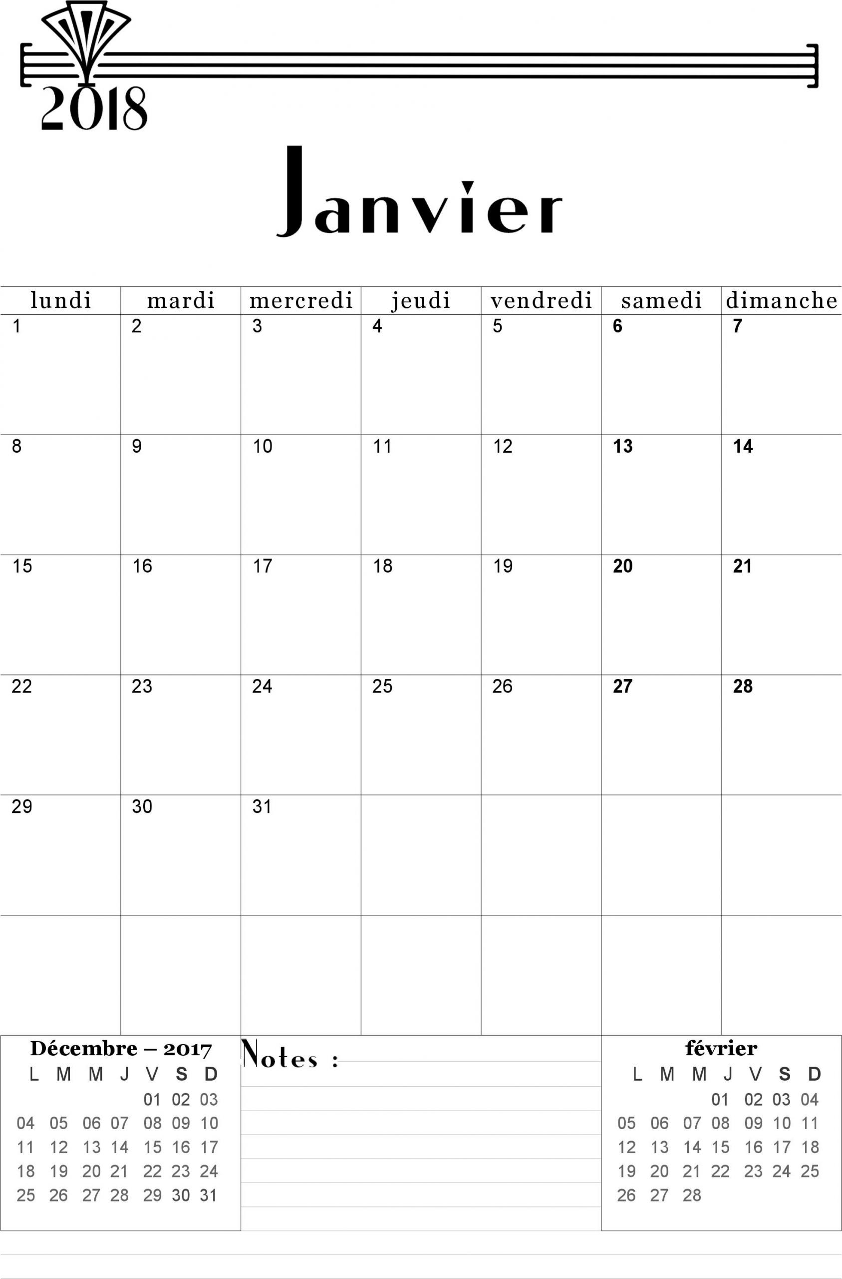 Calendrier Janvier 2018 À Imprimer Gratuitement serapportantà Calendrier 2018 À Imprimer Pdf