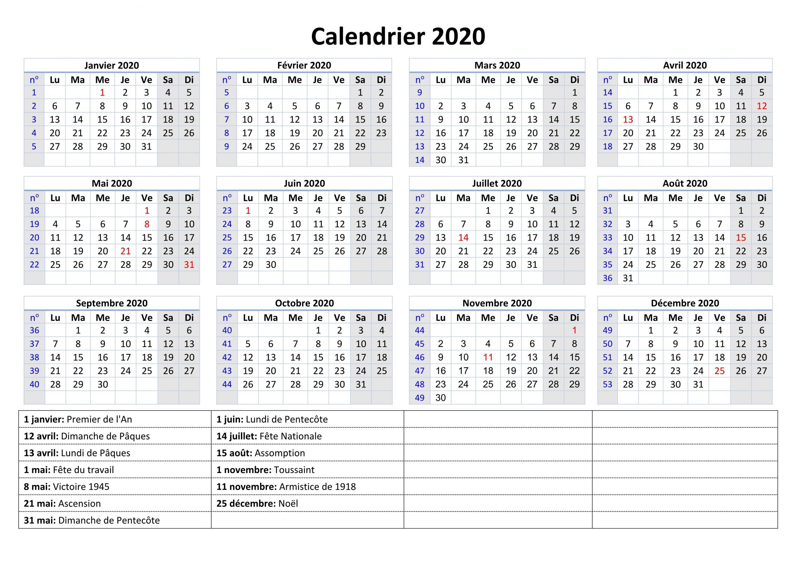 Calendrier Jours Fériés 2020: Calendrier Vacances [Pdf, Excel] encequiconcerne Calendrier 2019 Avec Jours Fériés Vacances Scolaires À Imprimer