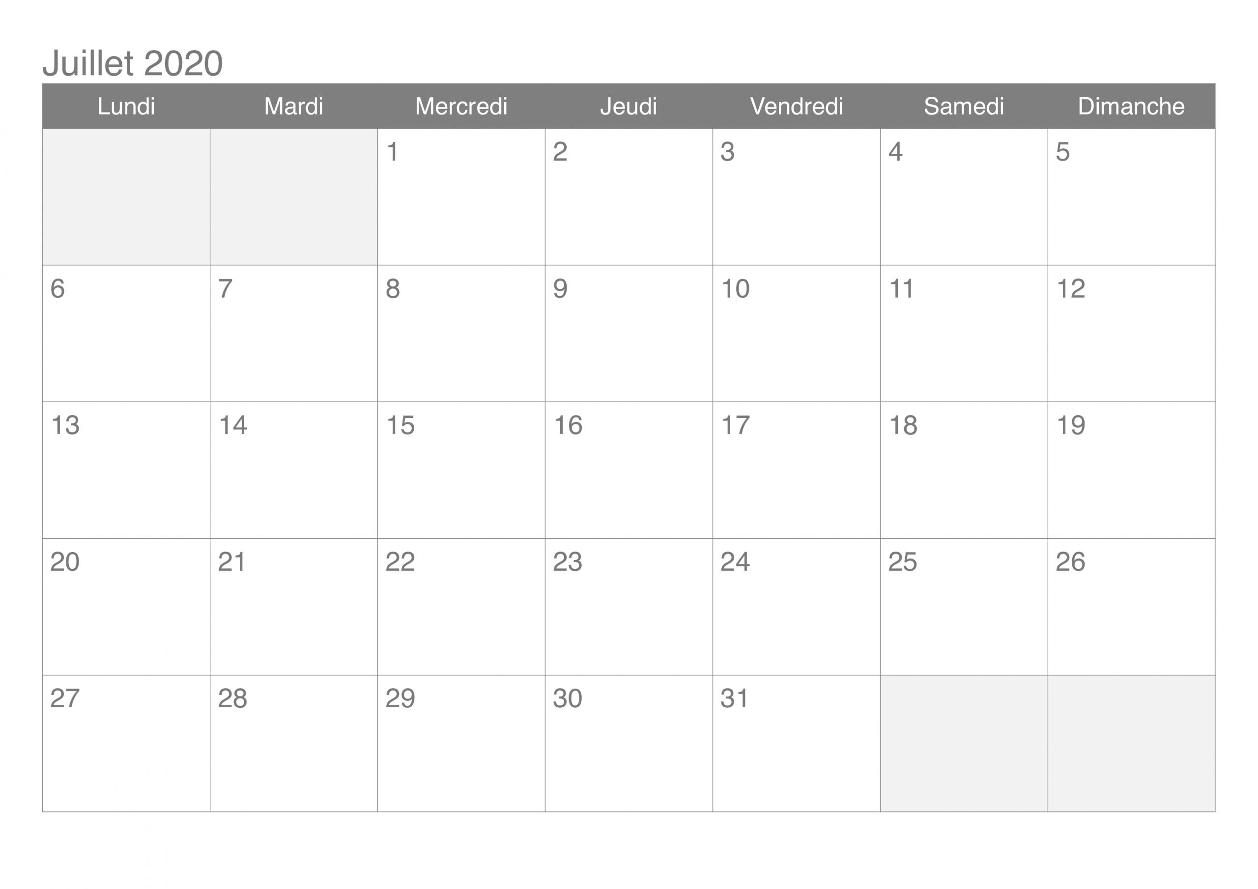Calendrier Juillet 2020 Vacances À Imprimer – Pdf, Excel intérieur Calendrier 2019 Avec Jours Fériés Vacances Scolaires À Imprimer