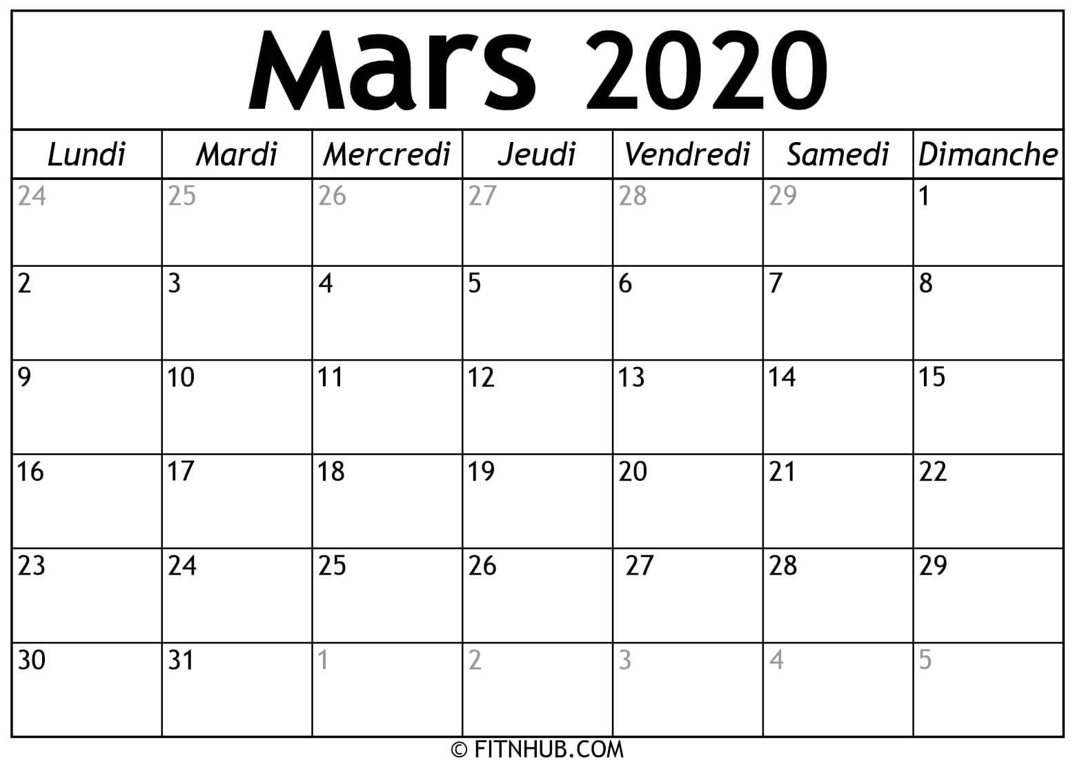 Calendrier Mars 2020 À Imprimer - Calendrier 2020 À Imprimer tout Calendrier Anniversaire À Imprimer