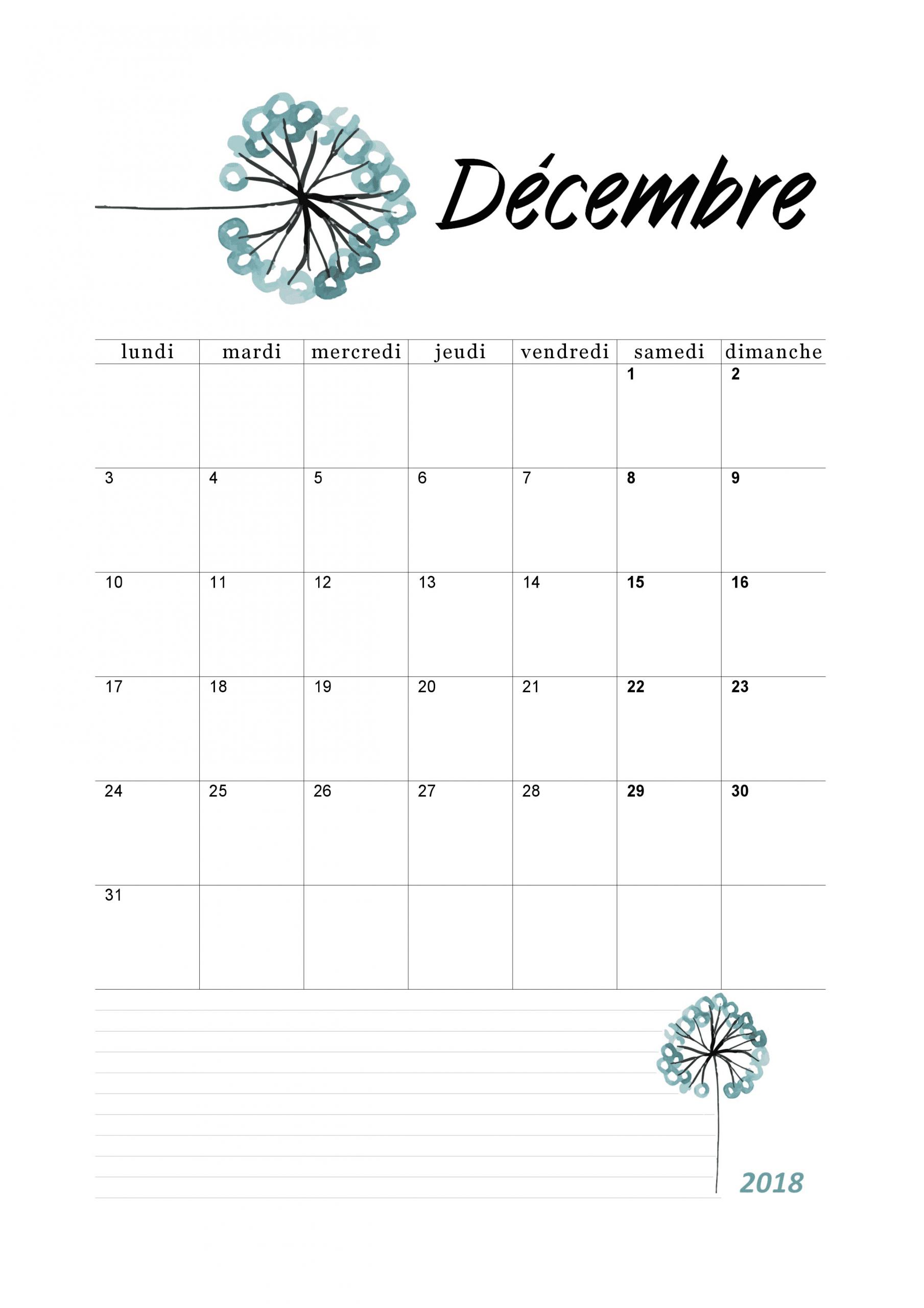 Calendrier Mensuel 2018 : Mois De Décembre | Calendrier tout Calendrier Annuel 2018 À Imprimer Gratuit