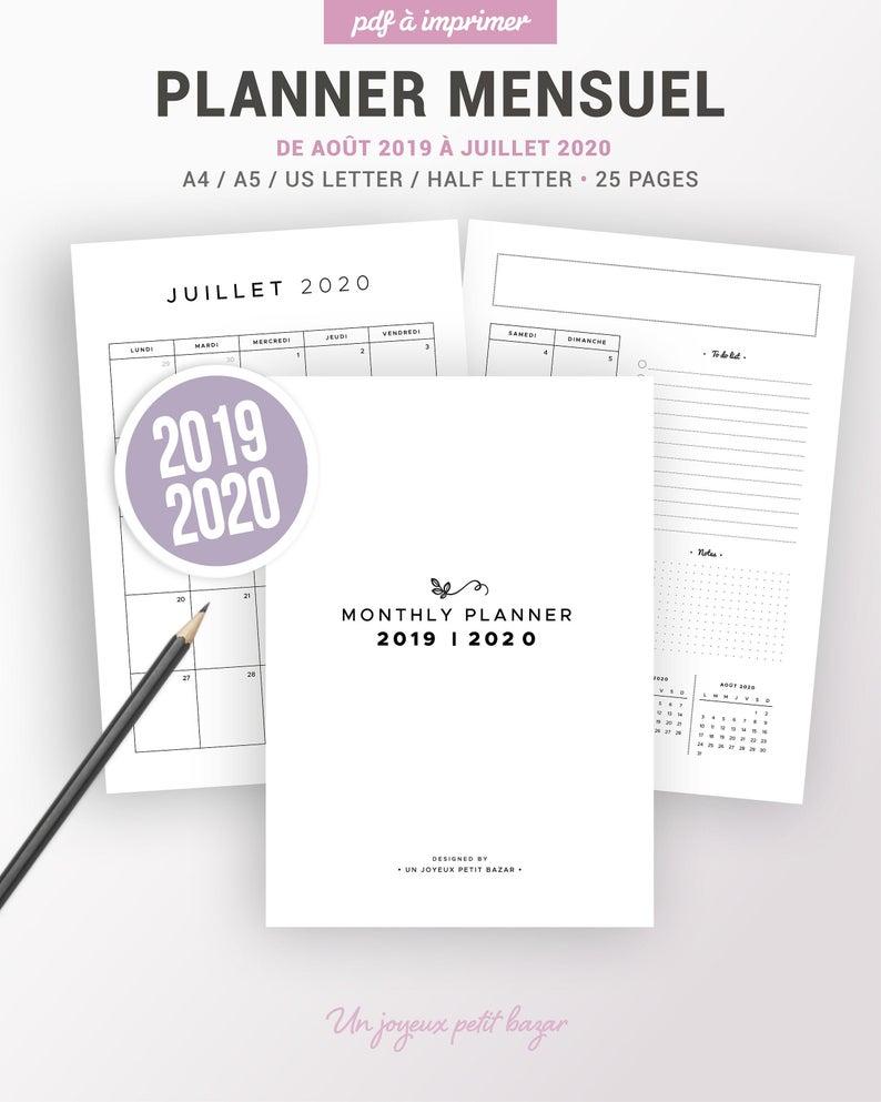 Calendrier Mensuel 2019 2020 Imprimable, Insert Planner 2019-2020 En  Français Pour Organiser Votre Planning, To Do List, Notes Par Mois avec Calendrier Anniversaire Perpétuel À Imprimer