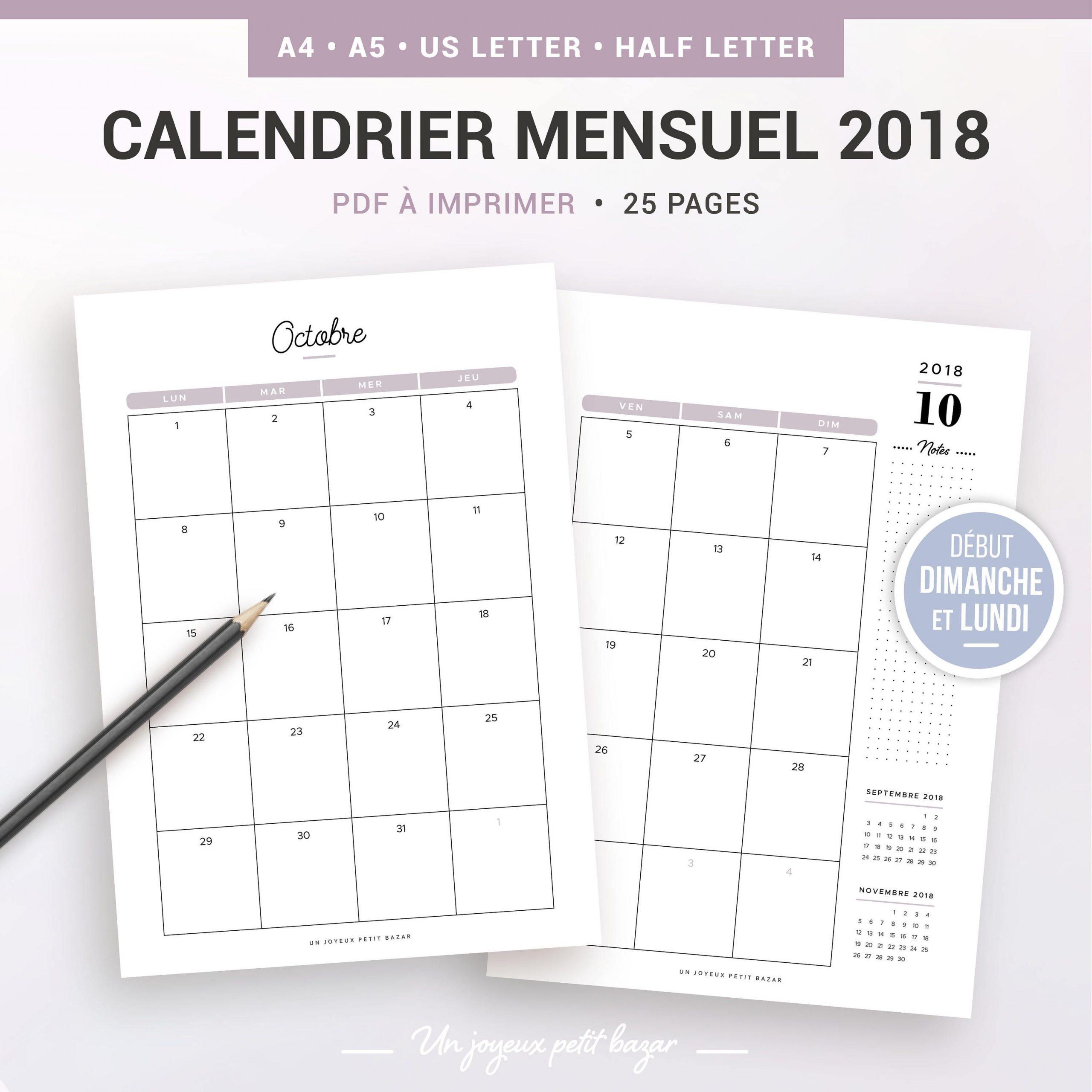 Calendrier Mensuel 2019 2020 Imprimable, Recharge À Imprimer avec Calendrier Mensuel 2018 À Imprimer
