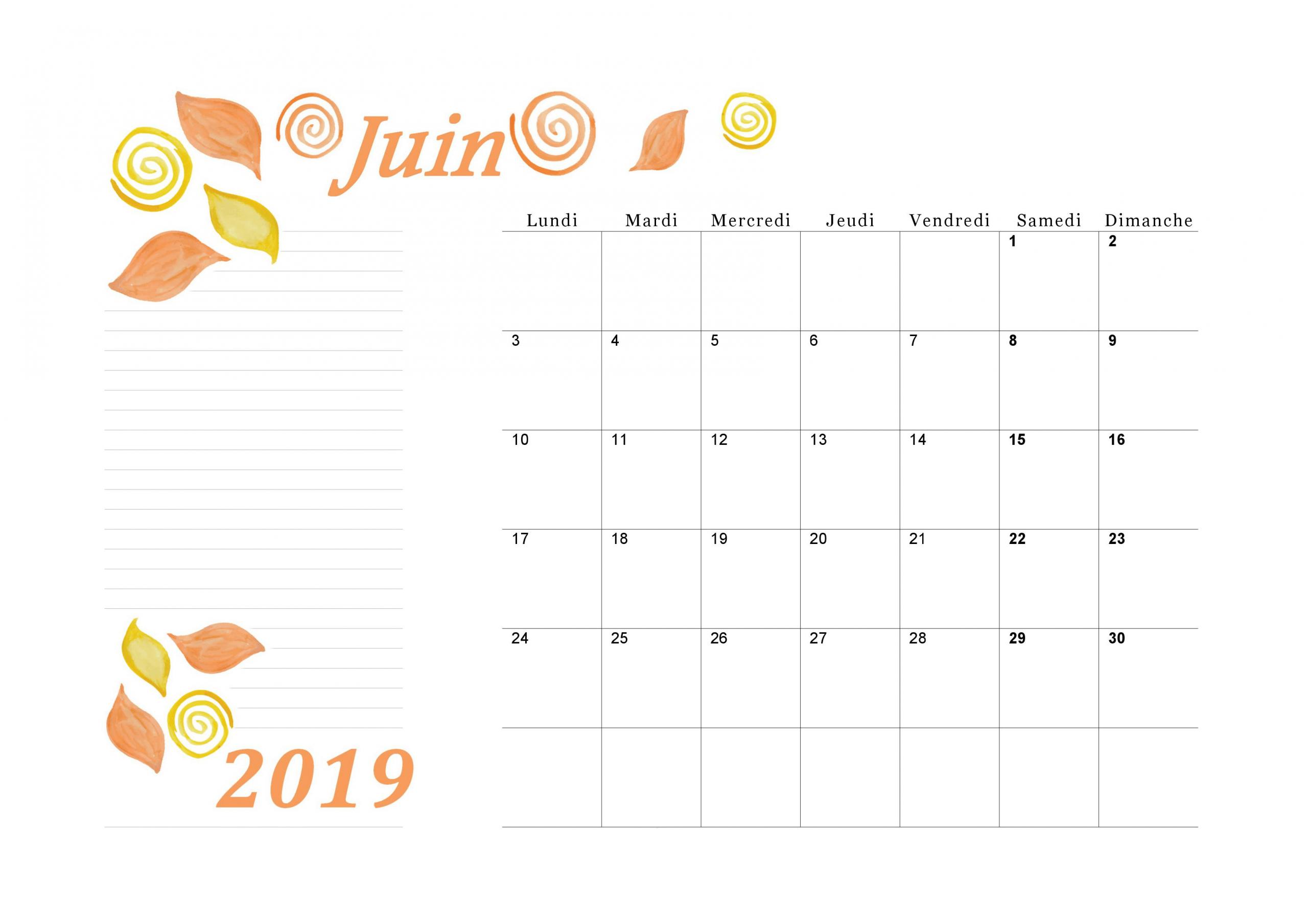 Calendrier Mensuel 2019 Du Mois De Juin À Imprimer encequiconcerne Mots Coupés À Imprimer